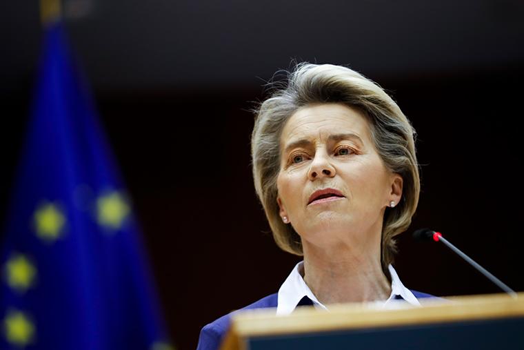 European Commission President Ursula Von Der Leyen at the European Parliament in Brussels on January 20, 2021.