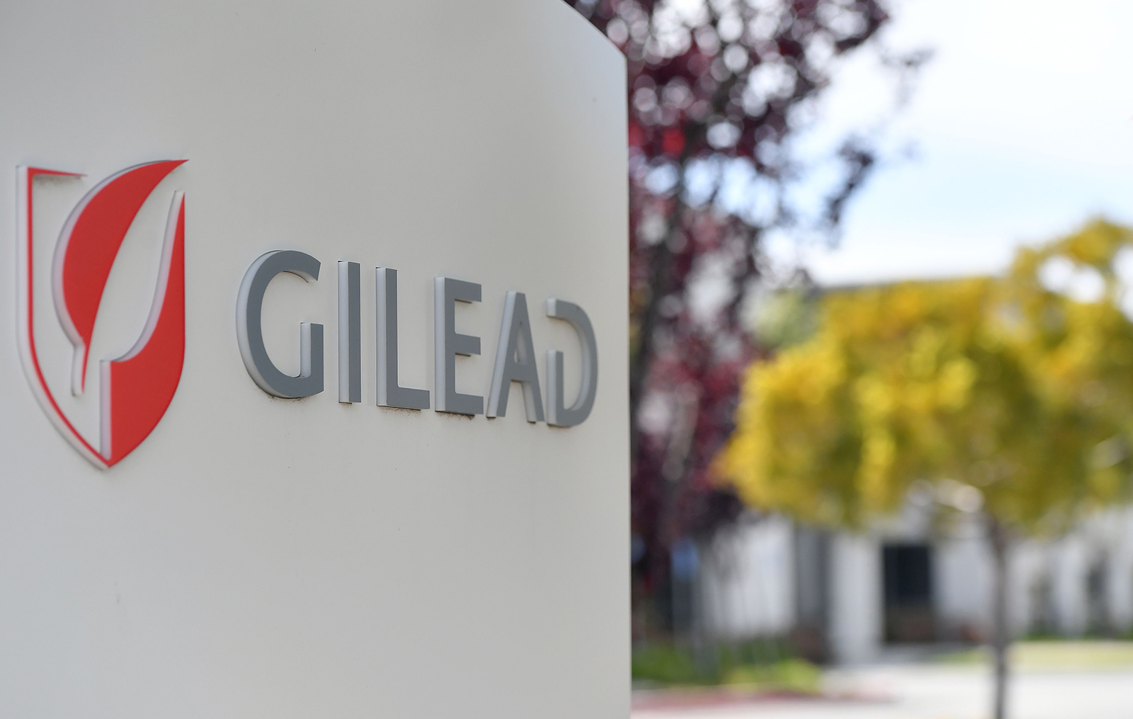 Gilead Sciences headquarters sign is seen in Foster City, California on April 30.