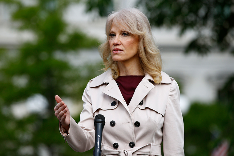 Conway speaks with reporters outside the White House in on Tuesday, May 5.