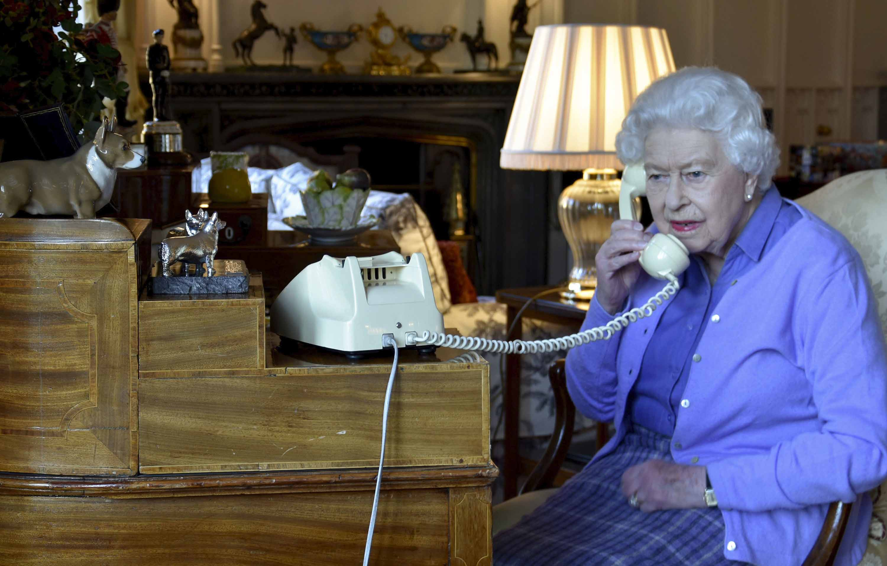 Britain's Queen Elizabeth II speaks to Prime Minister Boris Johnson from Windsor Castle on March 25.