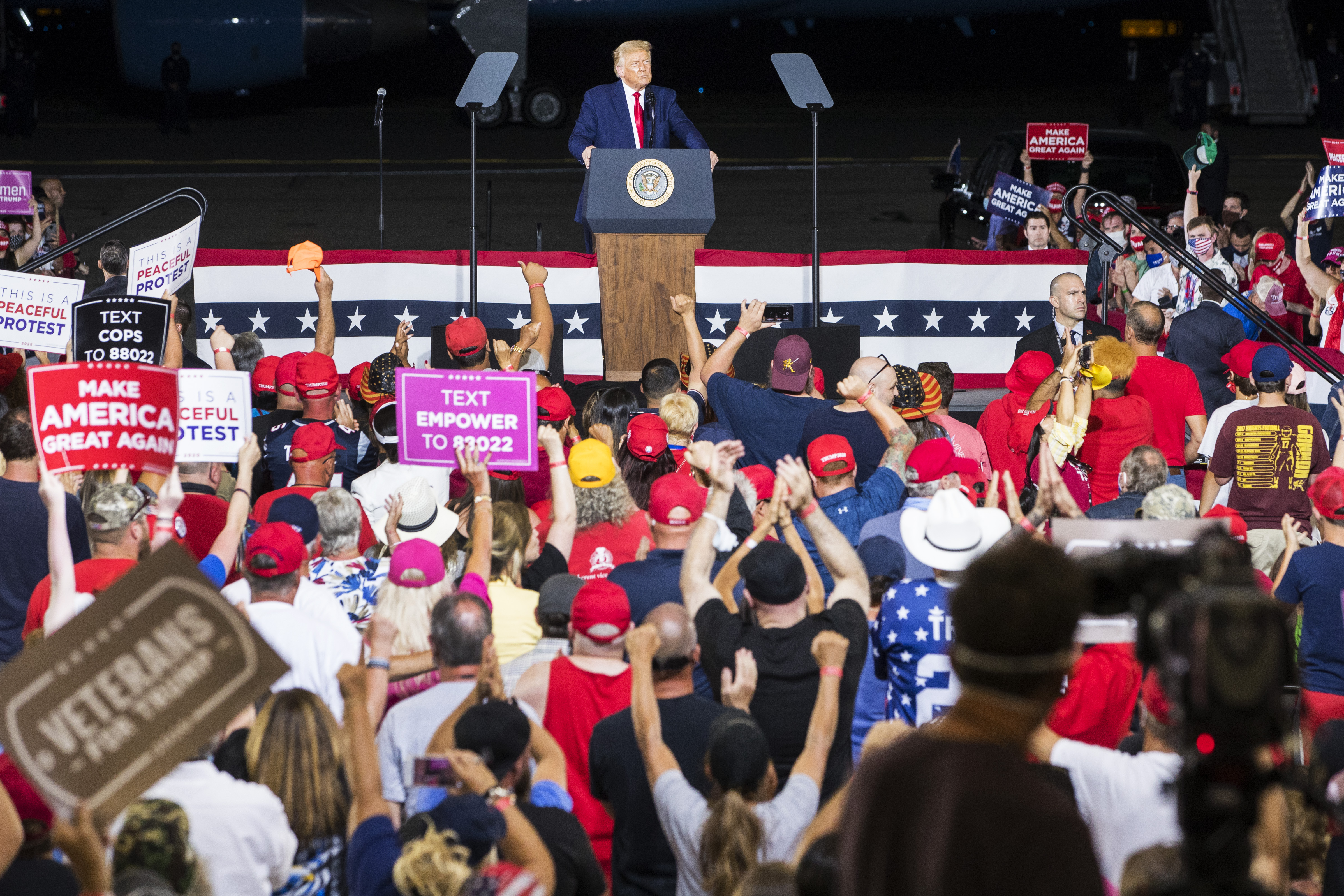President Donald Trump speaks at a campaign rally on August 28 in Londonderry, New Hampshire.