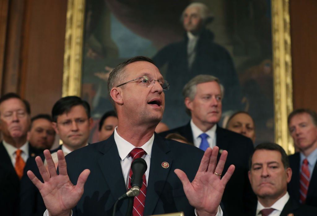 Rep. Doug Collins speaks during a news conference after the close of a vote by the U.S. House of Representatives on a resolution formalizing the impeachment inquiry into President Trump on October 31
