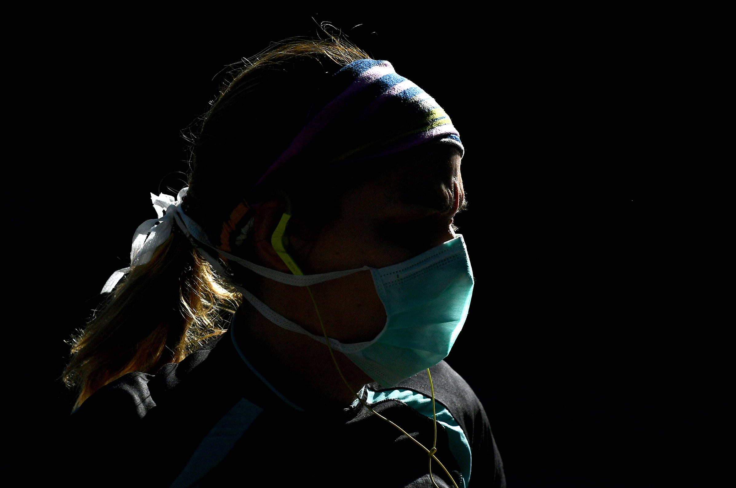 A woman wears a face mask on May 10 in Madrid, Spain.