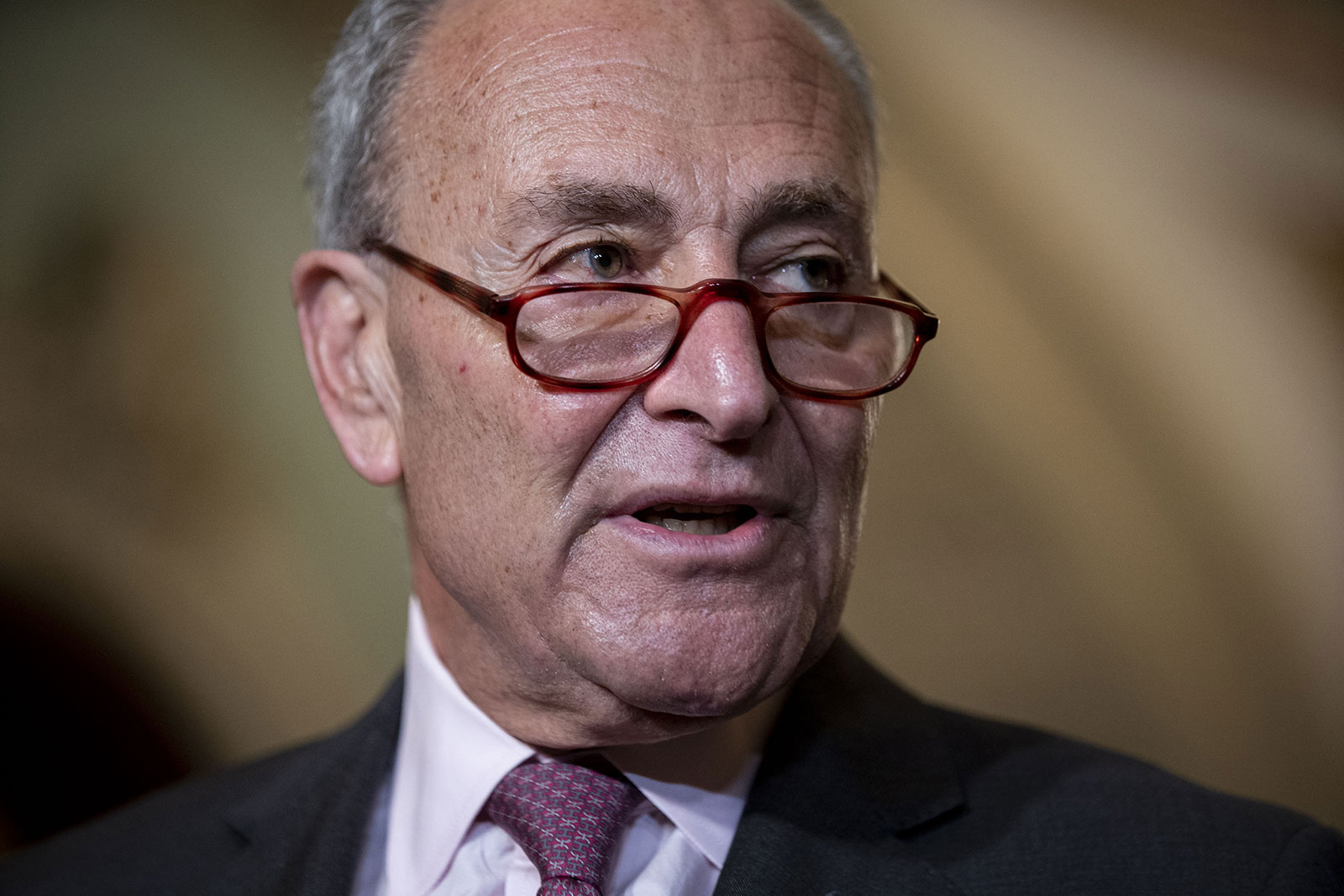 Senate Majority Leader Chuck Schumer speaks during a news conference at the US Capitol on Tuesday, September 28.