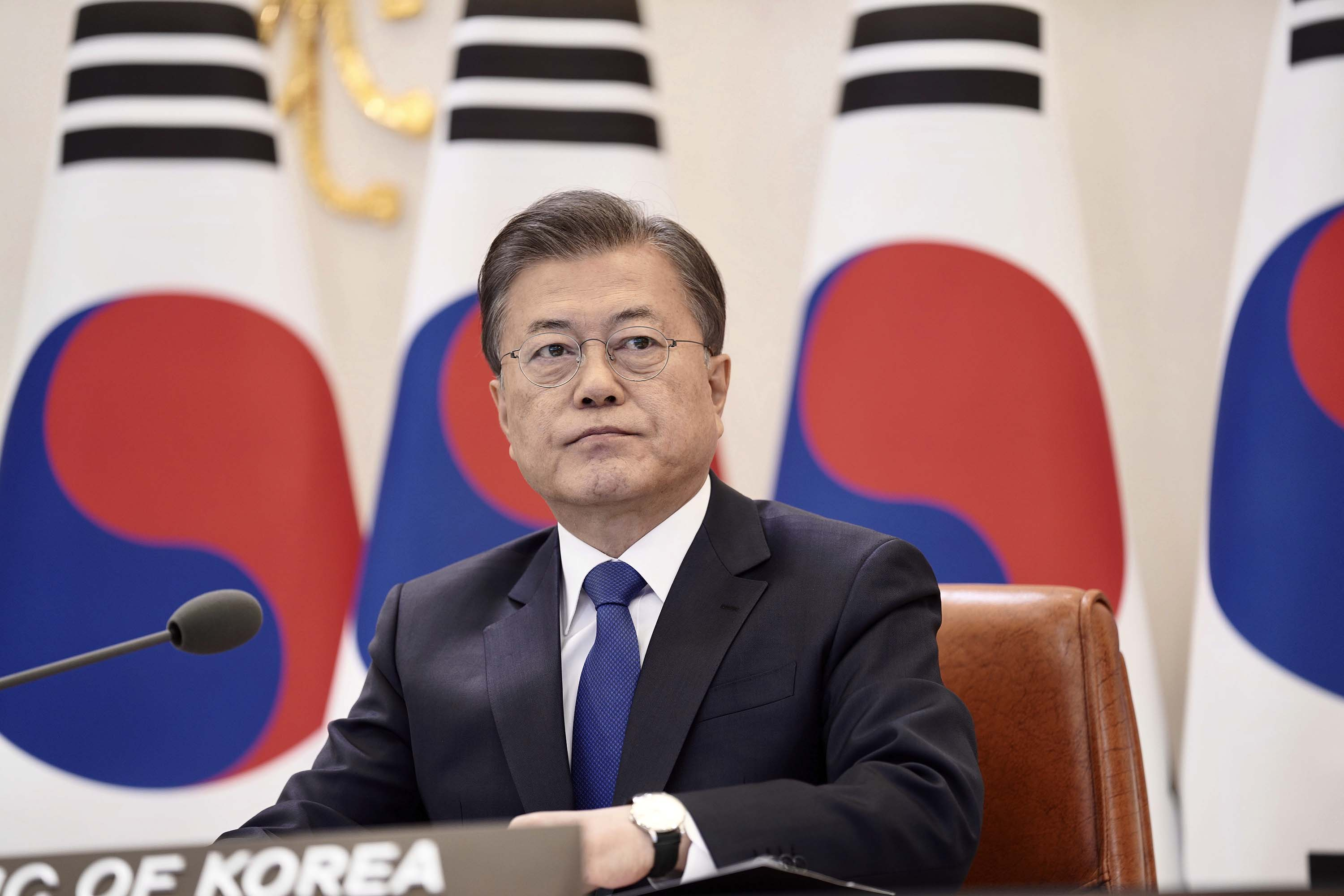 South Korean President Moon Jae-in attends a virtual summit at the presidential Blue House in Seoul, South Korea, on April 14.