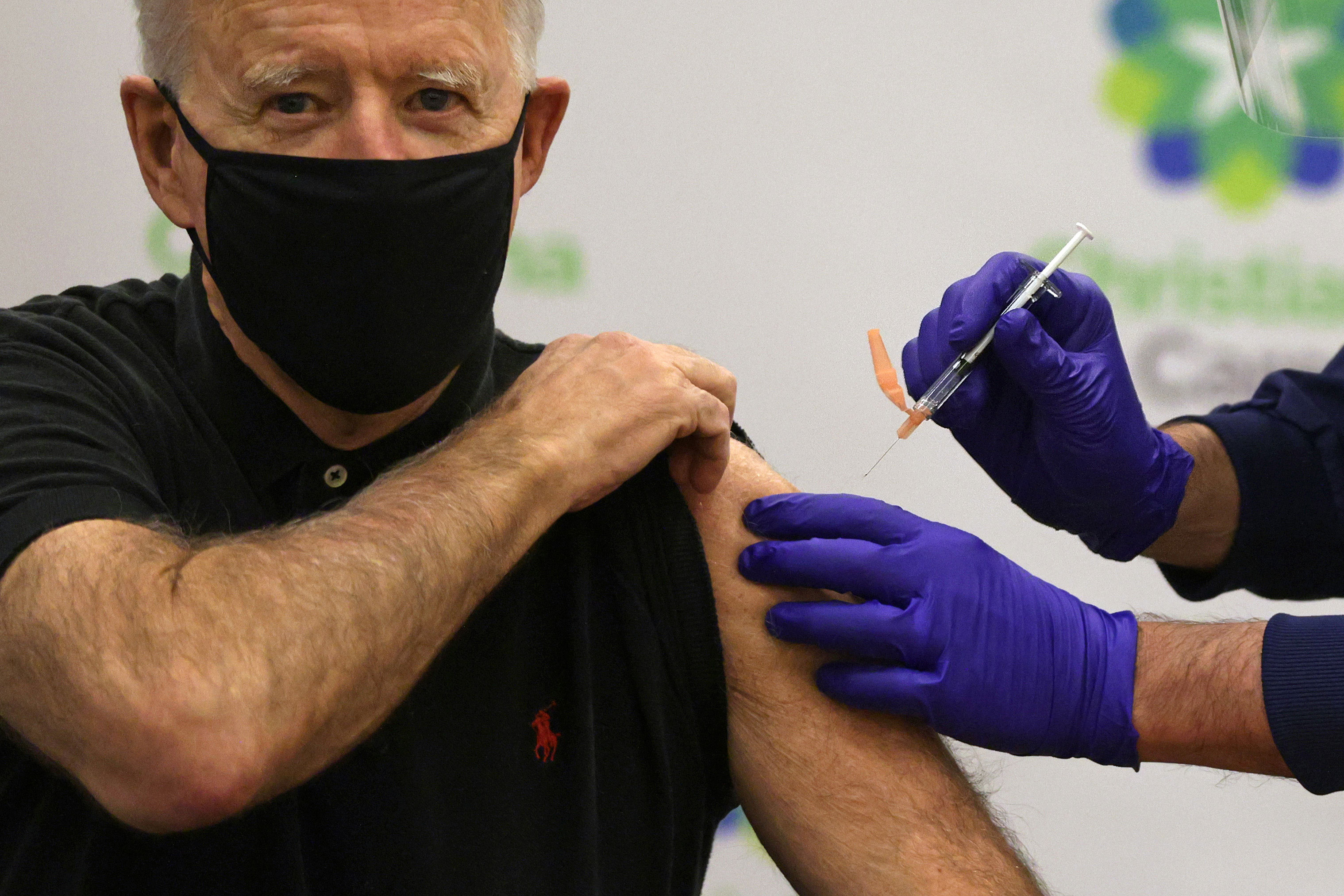 President-elect Joe Biden receives his second dose of the Pfizer Covid-19 vaccine on January 11 in Newark, Delaware.