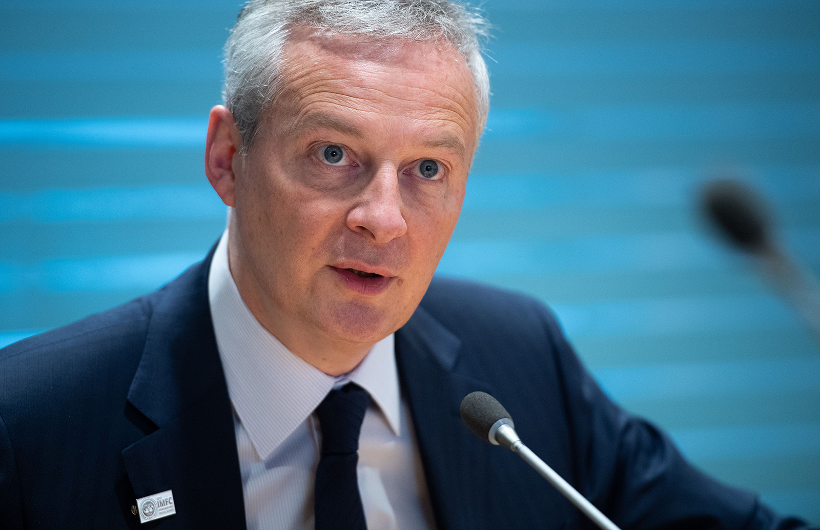 French Finance Minister Bruno LeMaire holds a press conference during the IMF - World Bank Spring Meetings at International Monetary Fund Headquarters in Washington, on April 12, 2019.