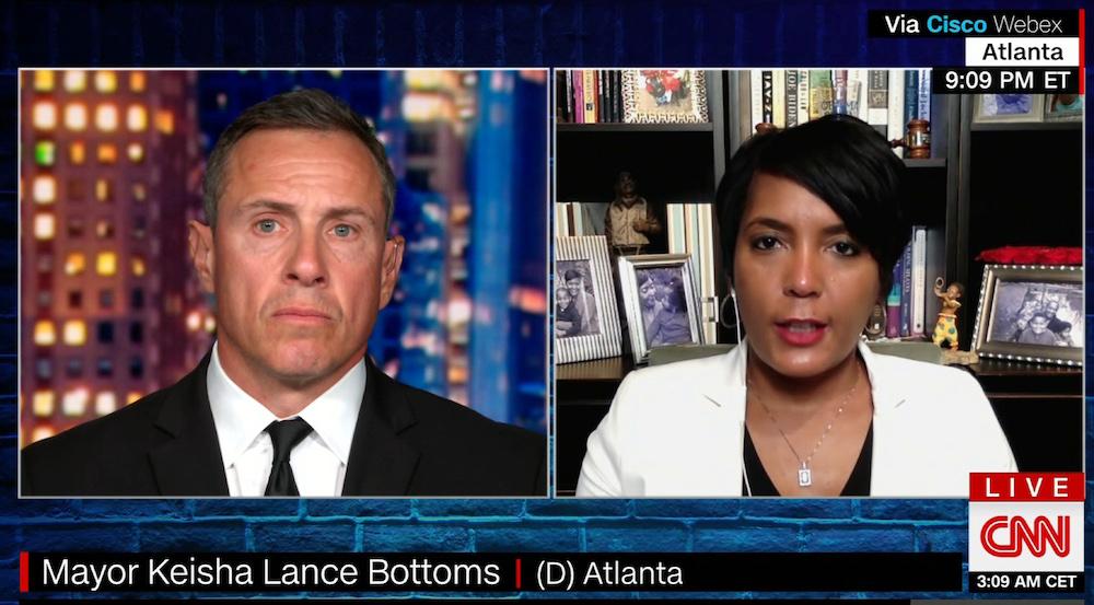 CNN's Chris Cuomo and Atlanta Mayor Keisha Lance Bottoms.