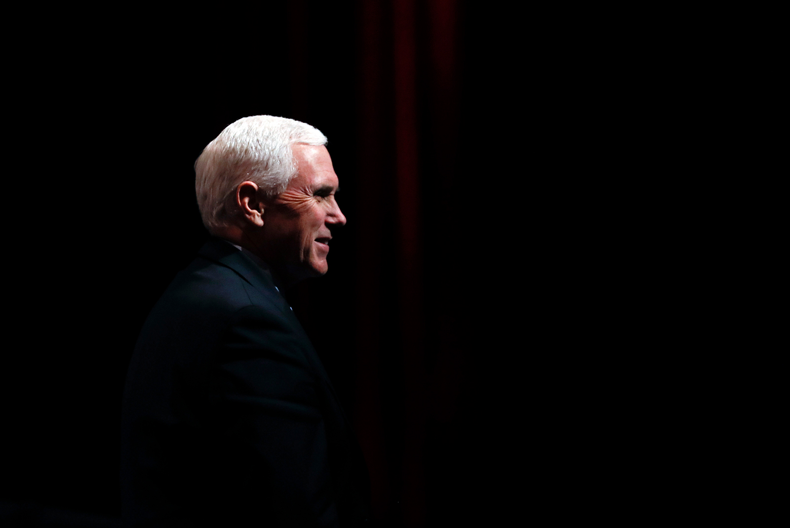 Vice President Mike Pence reacts to audience members after a roundtable on May 8, in West Des Moines, Iowa.
