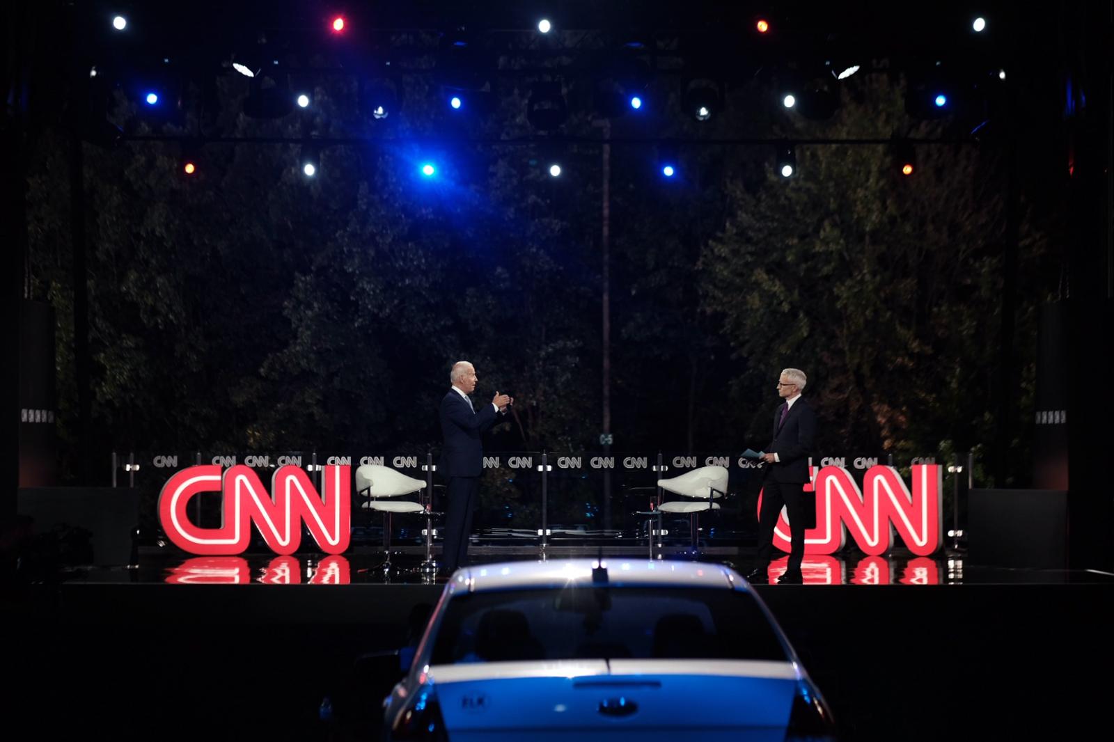 Democratic presidential nominee Joe Biden speaks with CNN's Anderson Cooper at the CNN Presidential Town Hall in Scranton, Pennsylvania, on Thursday, September 17.