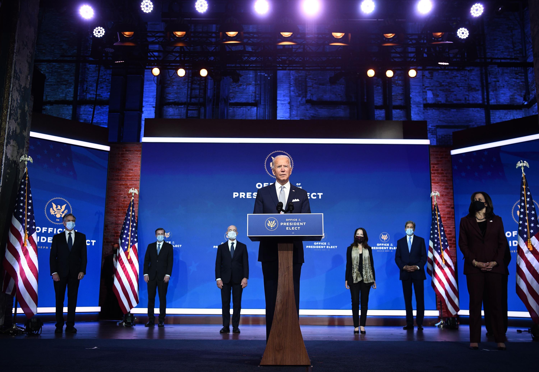 President-elect Joe Biden speaks during a cabinet announcement event in Wilmington, Delaware, on November 24.