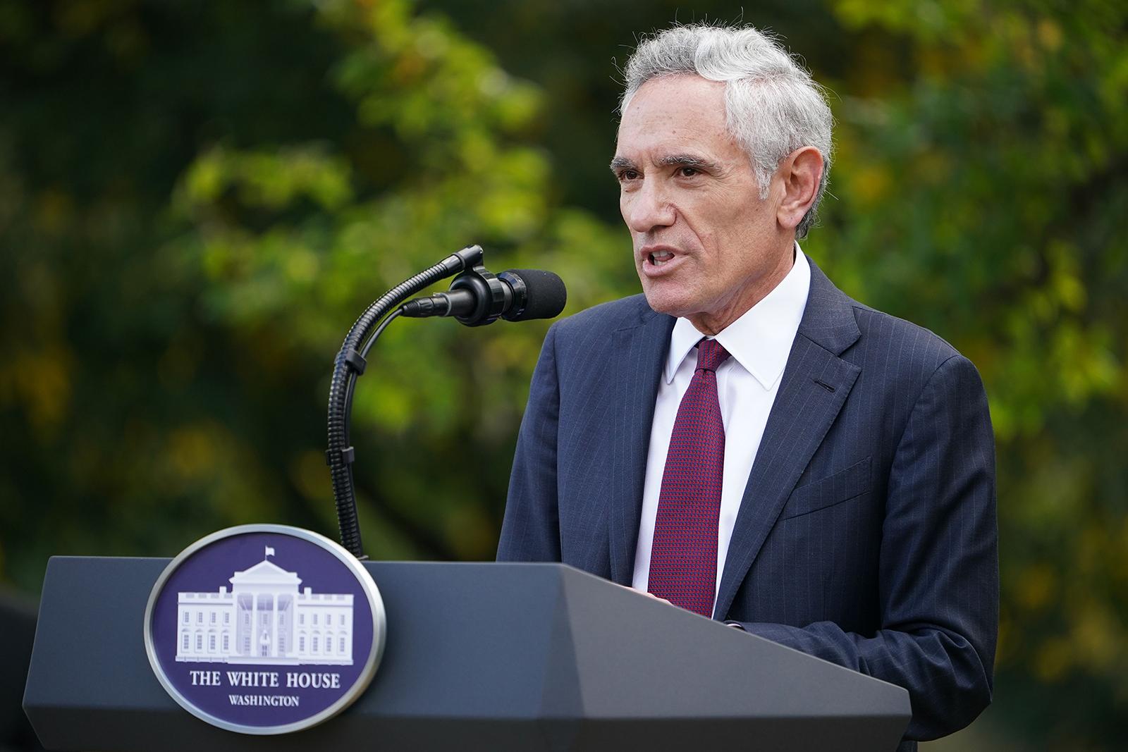White House coronavirus adviser Dr. Scott Atlas speaks on Covid-19 testing in the Rose Garden of the White House in Washington, DC, on September 28.