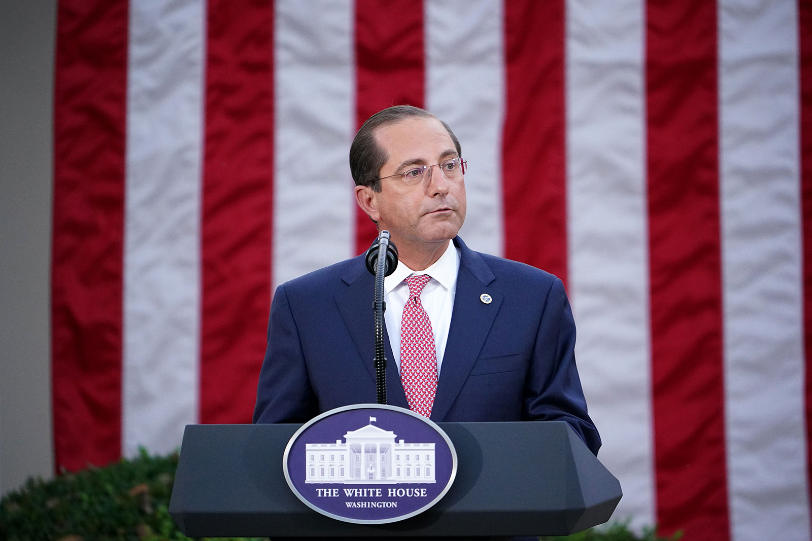 """Health and Human Services Secretary Alex Azar delivers an update on """"Operation Warp Speed"""" in the Rose Garden of the White House on Friday, November 13."""