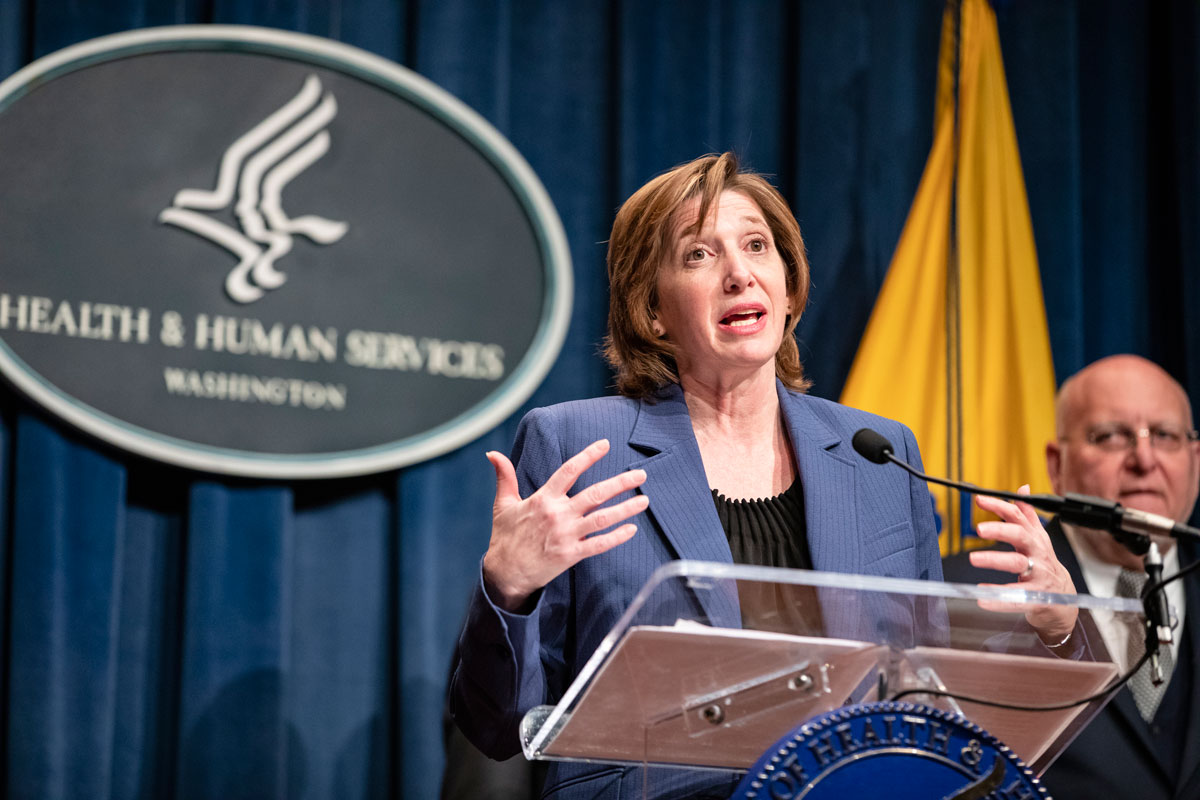 National Center for Immunization and Respiratory Diseases Director Nancy Messonnier speaks during a news conference at the Department of Health and Human Services on Jan. 28 in Washington, D.C.