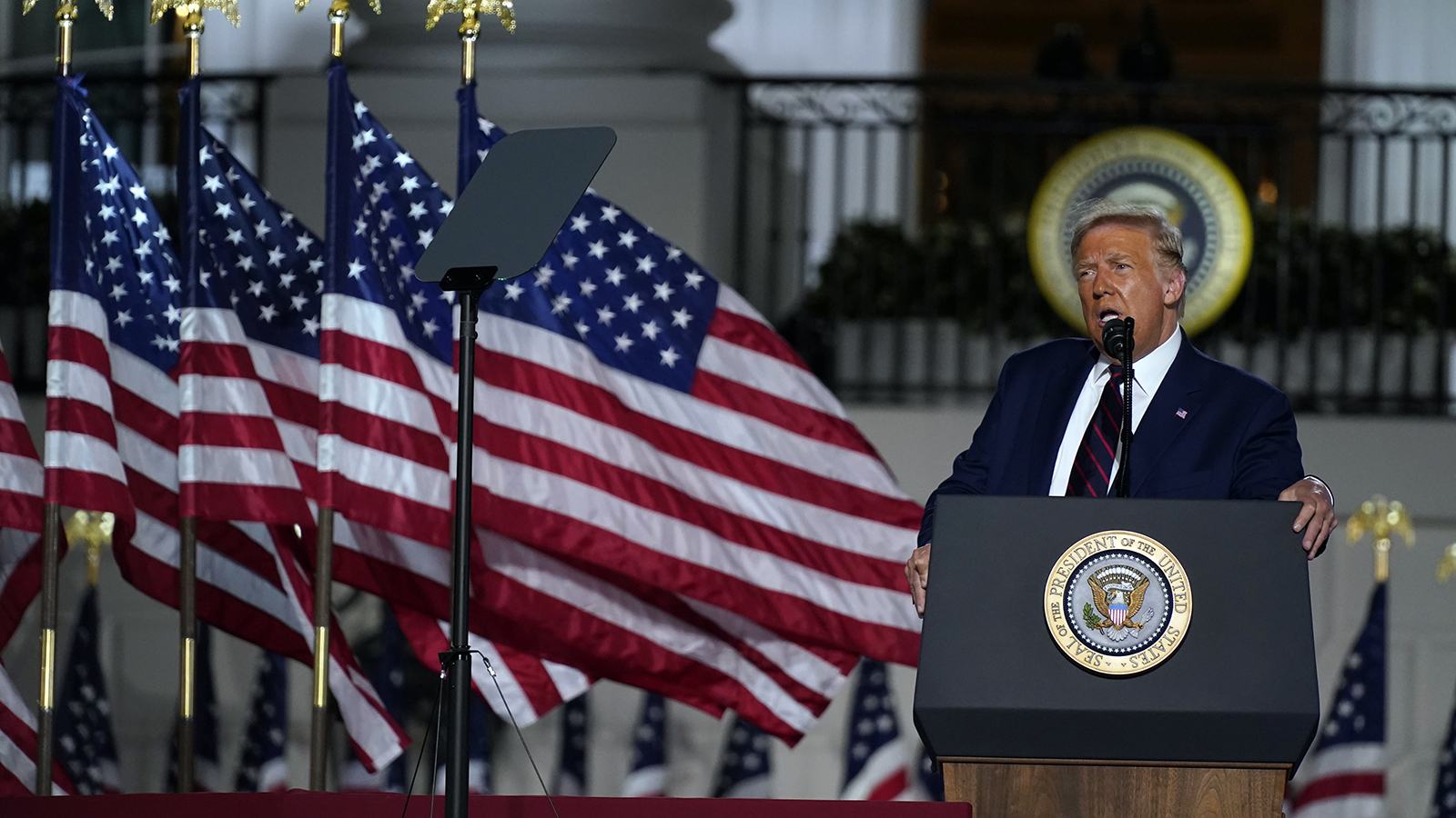 President Donald Trump speaks from the South Lawn of the White House on the fourth day of the Republican National Convention on Thursday in Washington.