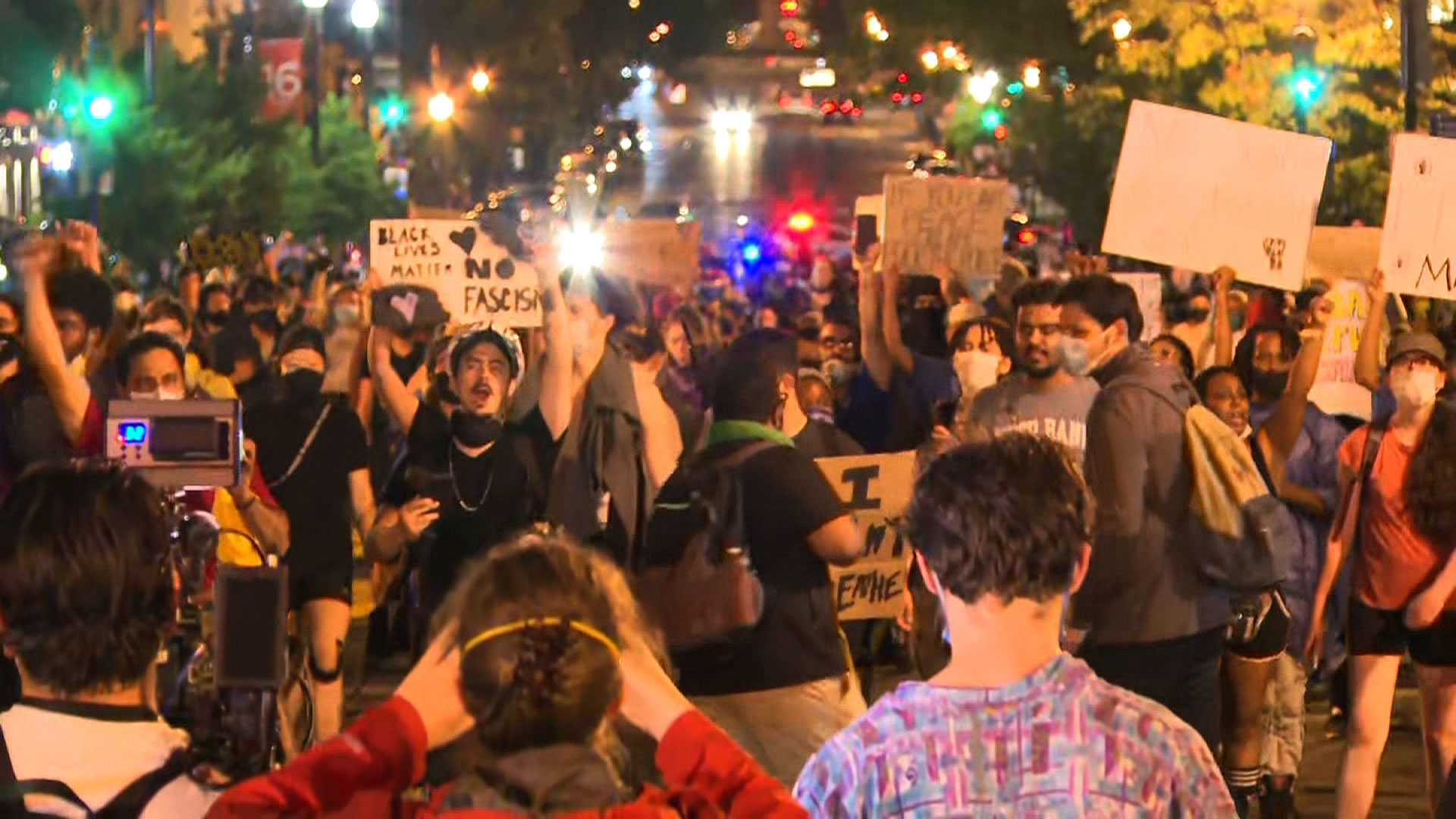 Protesters march in Washington on Friday night.
