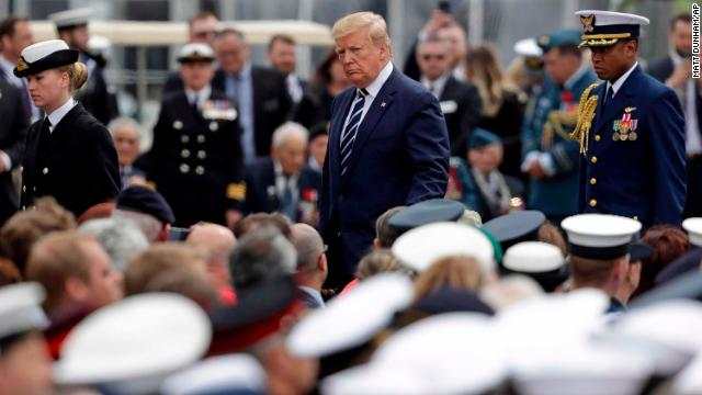 President Donald Trump at an event to mark the 75th anniversary of D-Day in Portsmouth, England, on Wednesday.
