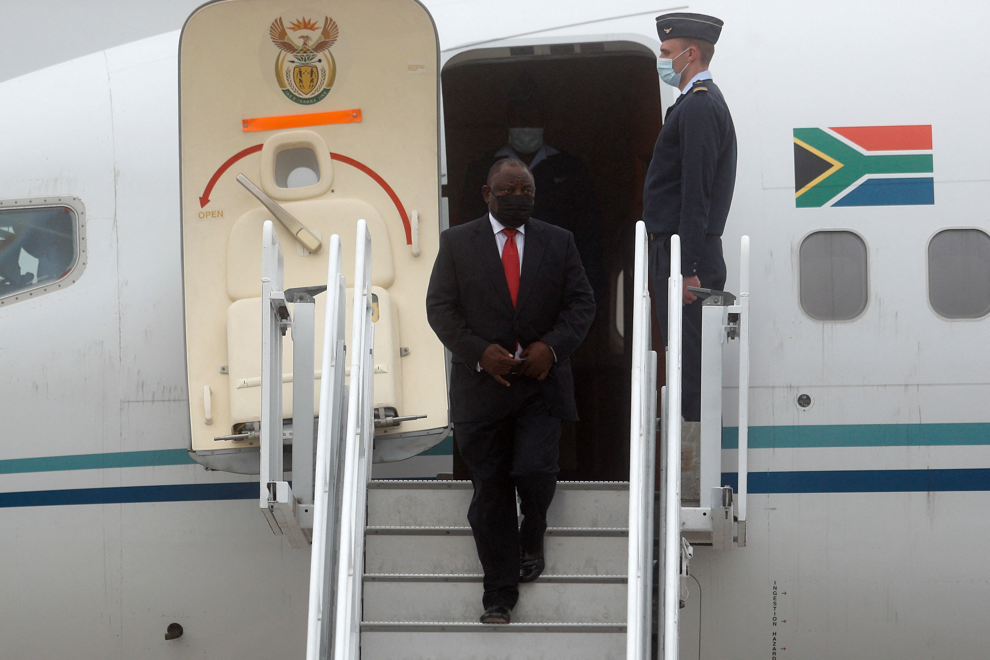 South Africa's President Cyril Ramaphosa arrivesat Cornwall Airport Newquay in England on June 11 for the G7 summit.