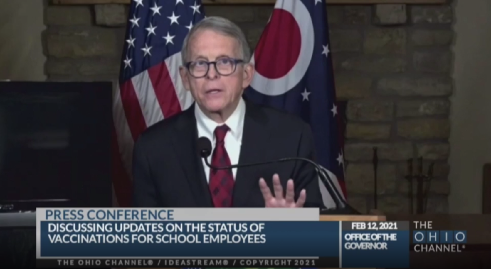 Ohio Gov. Mike DeWine speaks during a news conference in Columbus, Ohio, on February 12.