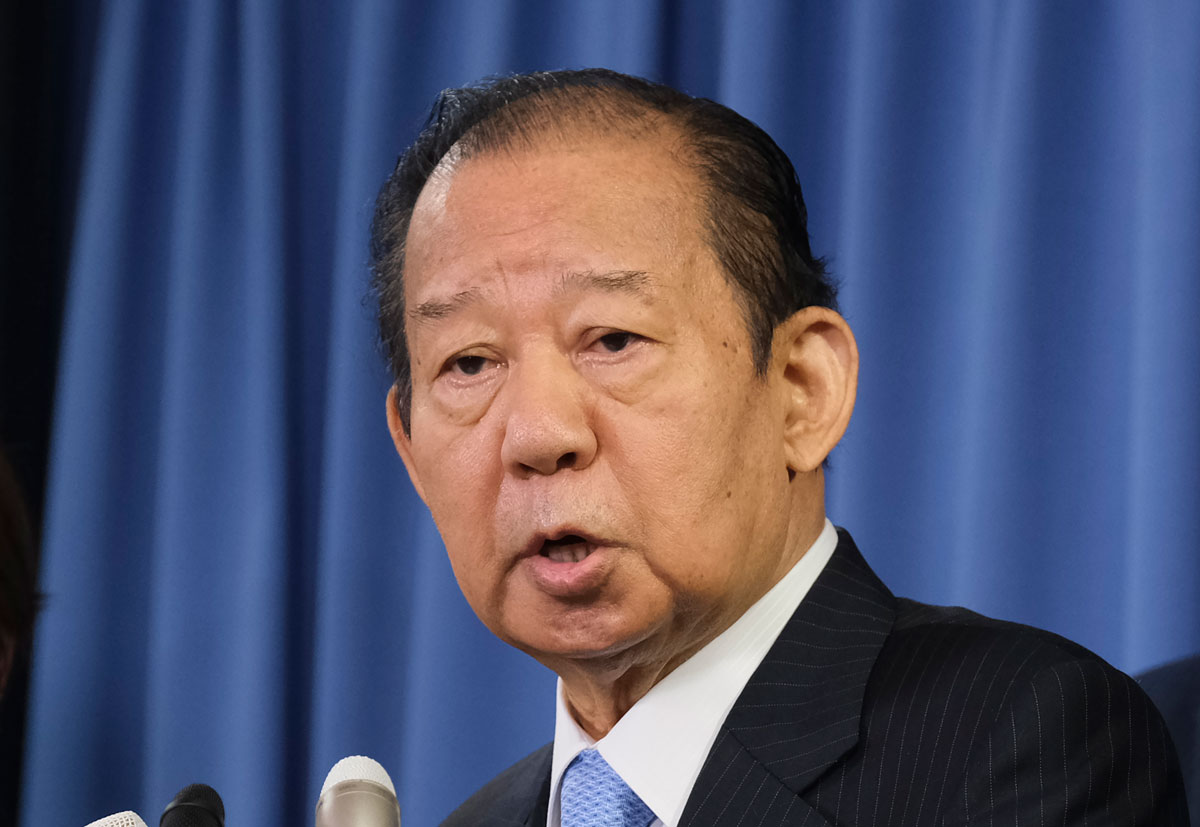 Japan's ruling Liberal Democratic Party Secretary General Toshihiro Nikai speaks to the media at the LDP headquarters in Tokyo on September 1, 2020.