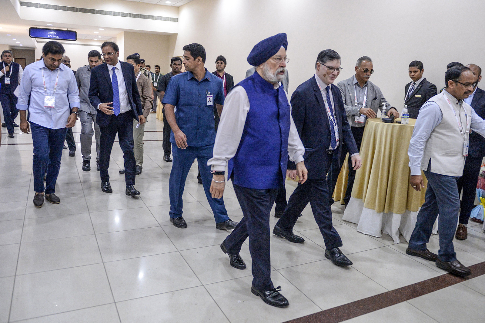Indian Minister of Civil Aviation Hardeep Singh Puri, center, arrives to attend a ministerial plenary at the Wings India 2020 international exhibition at Begumpet Airport in Hyderabad, on March 14.