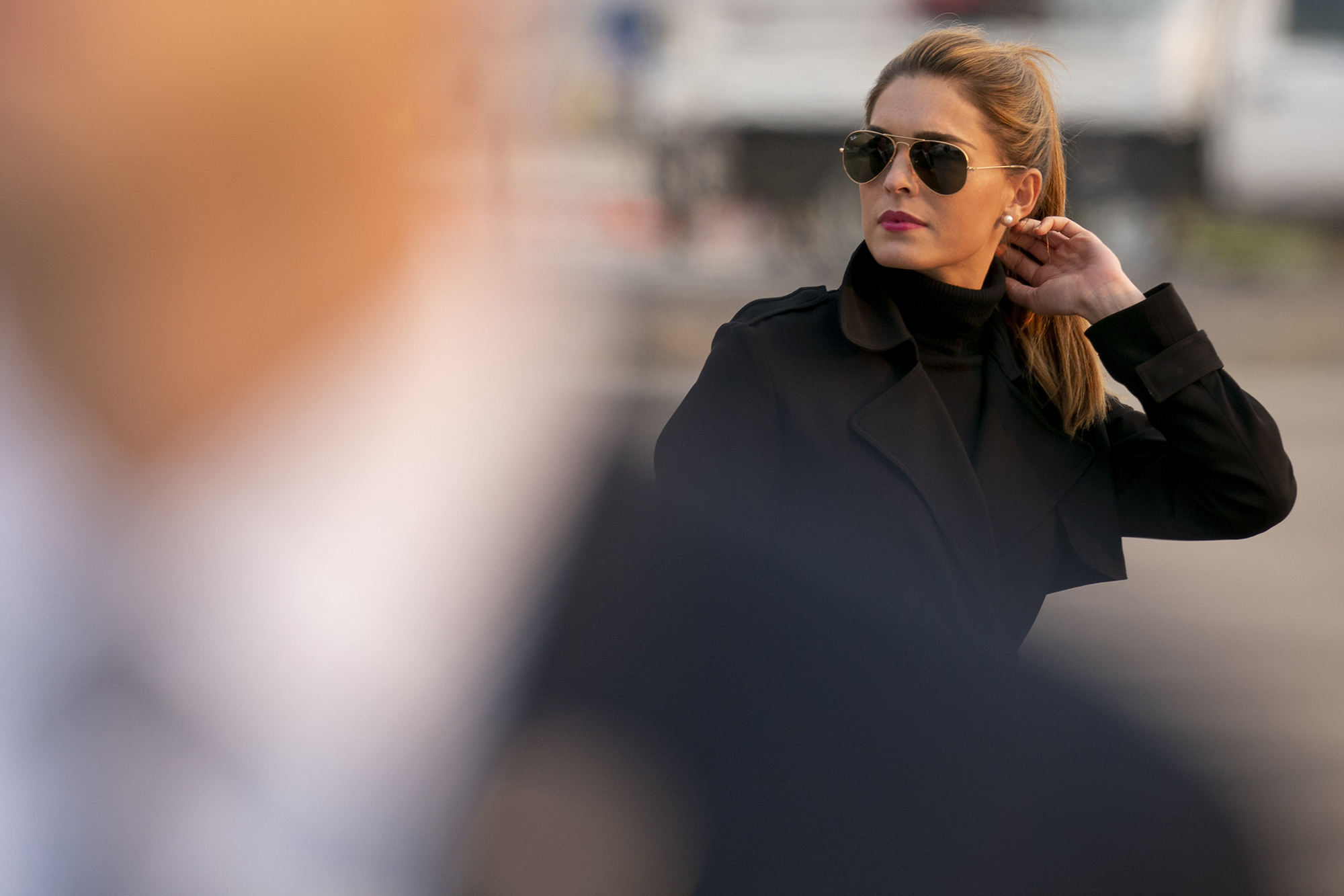 In this Sept. 12, 2020, file photo, Counselor to the President Hope Hicks arrives with President Donald Trump at Reno-Tahoe International Airport in Reno, Nev.