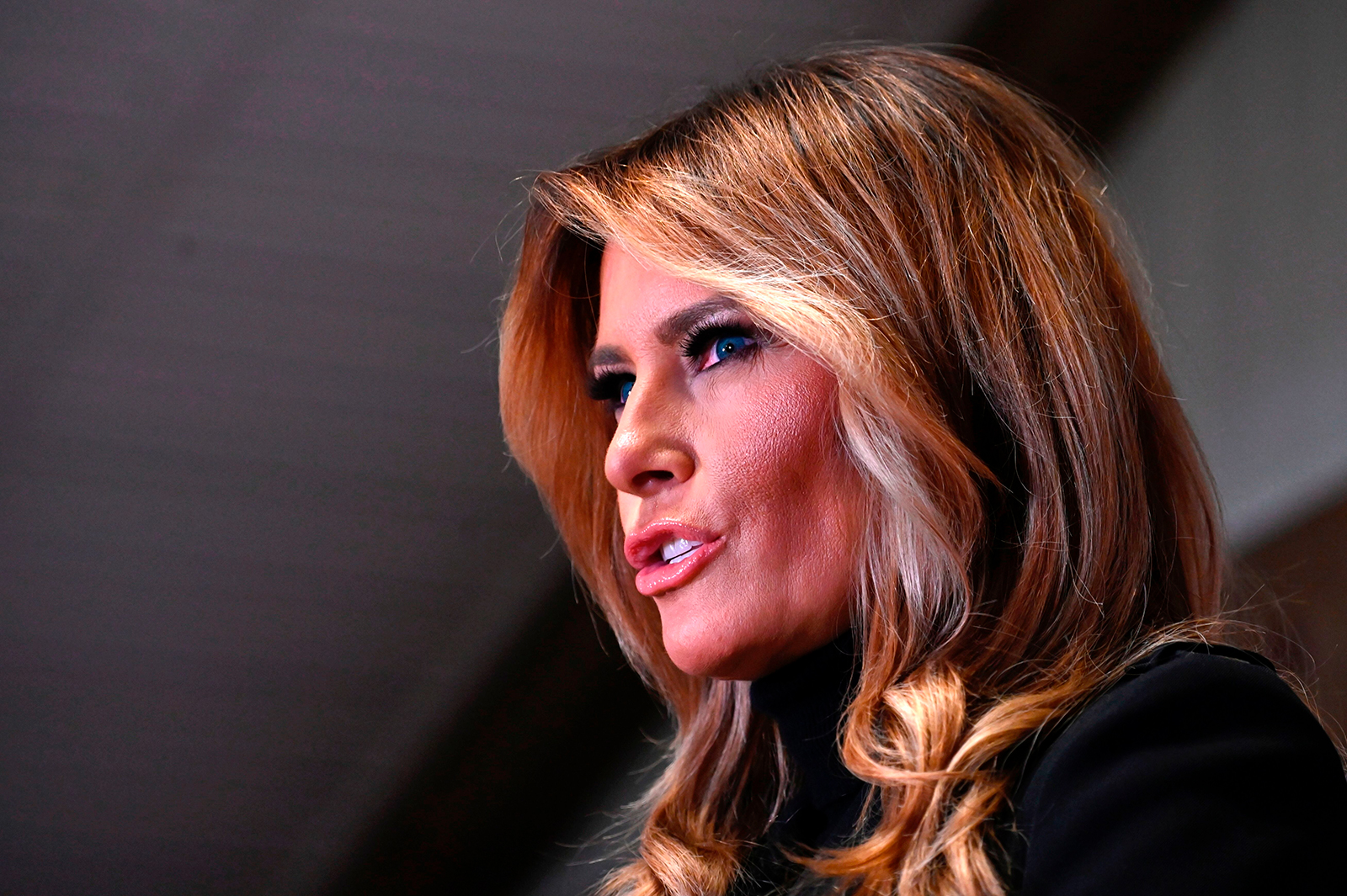 US First Lady Melania Trump speaks during a campaign rally at Whitewoods venue in Wapwallopen, Pennsylvania on October 31.