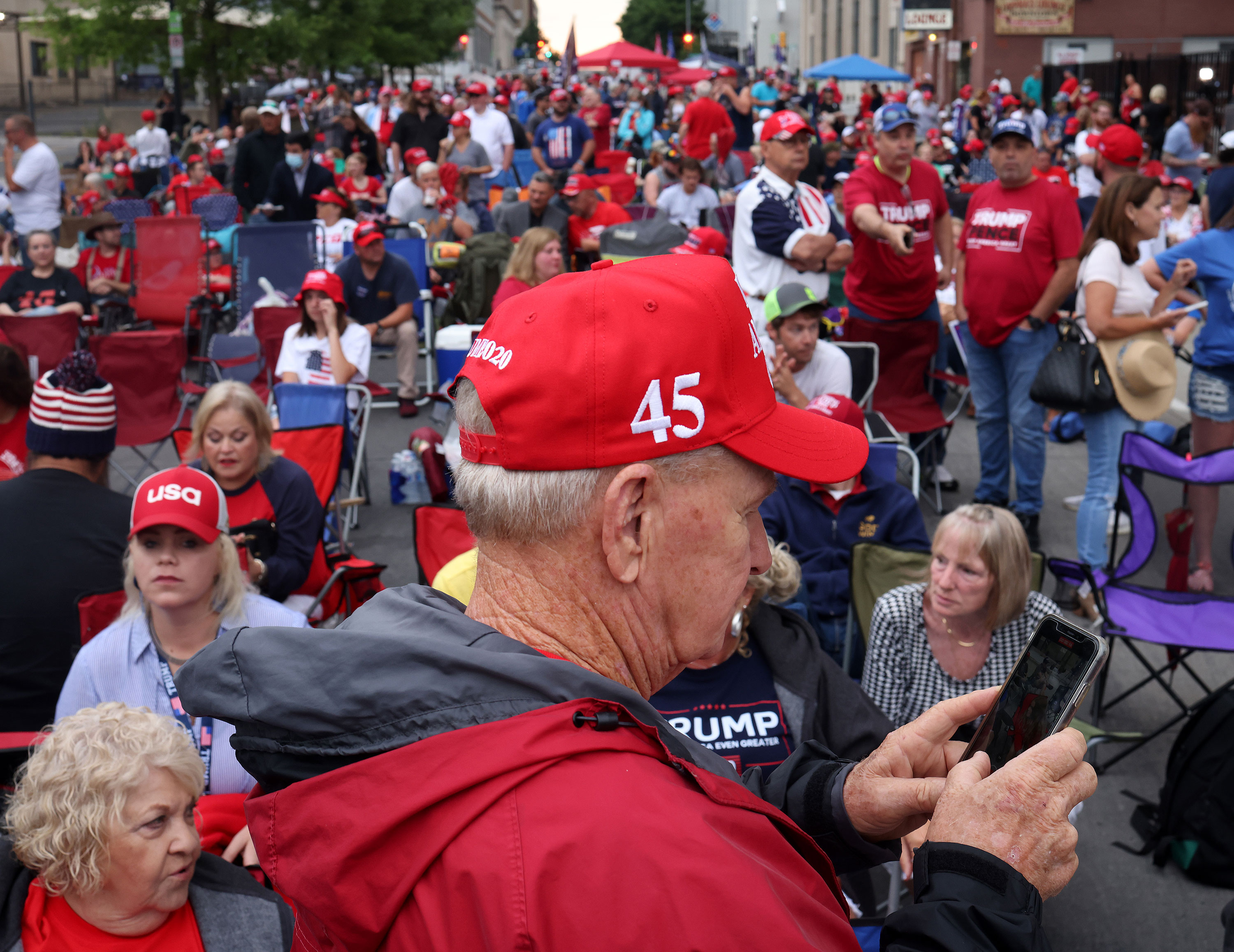 Supporters of President Donald Trump gather to attend his campaign rally in Tulsa, Oklahoma, on June 20.