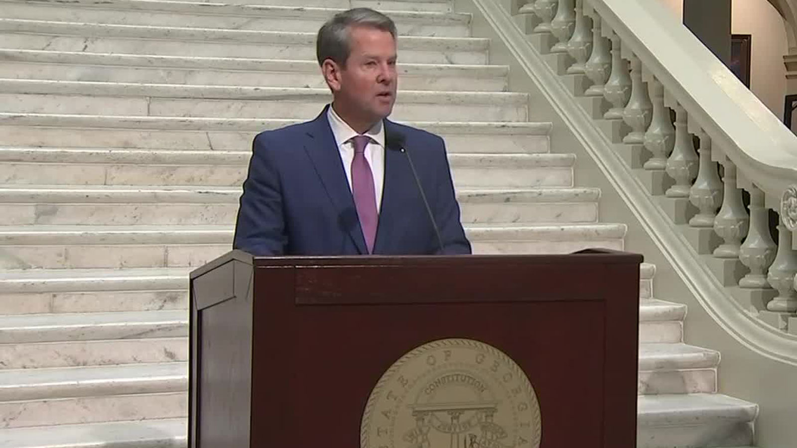 Georgia Gov. Brian Kemp speaks at a news conference in Atlanta on October 7.