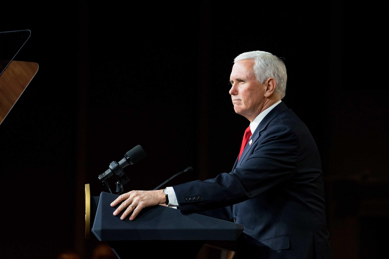 Vice President Mike Pence speaks in Milner, Georgia,on January 4.
