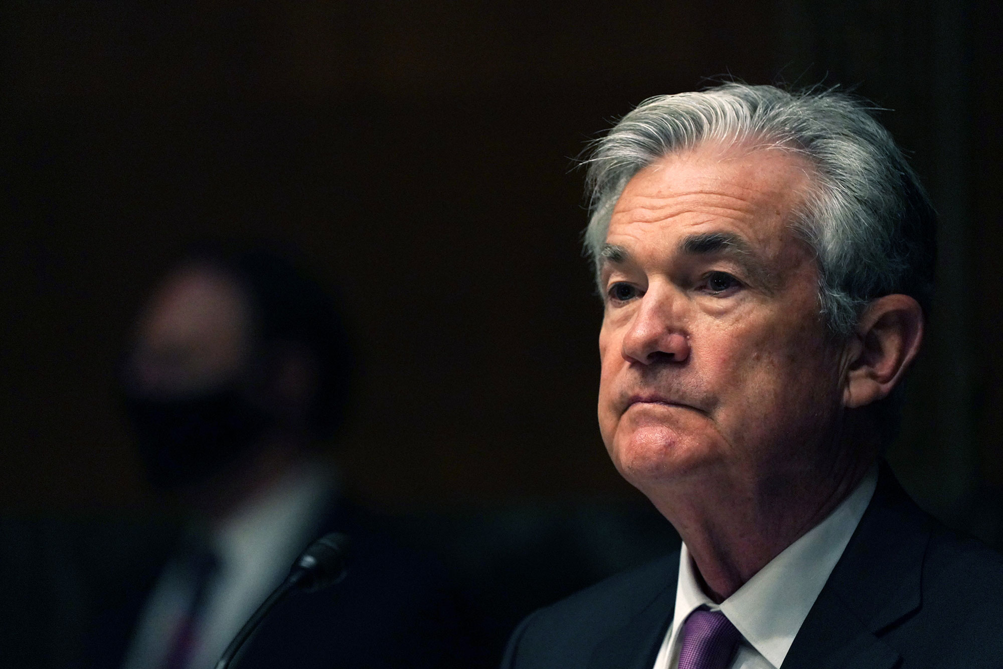 Federal Reserve Chair Jerome Powell testifies during a Senate Banking Committee hearing on September 24 in Washington, DC.