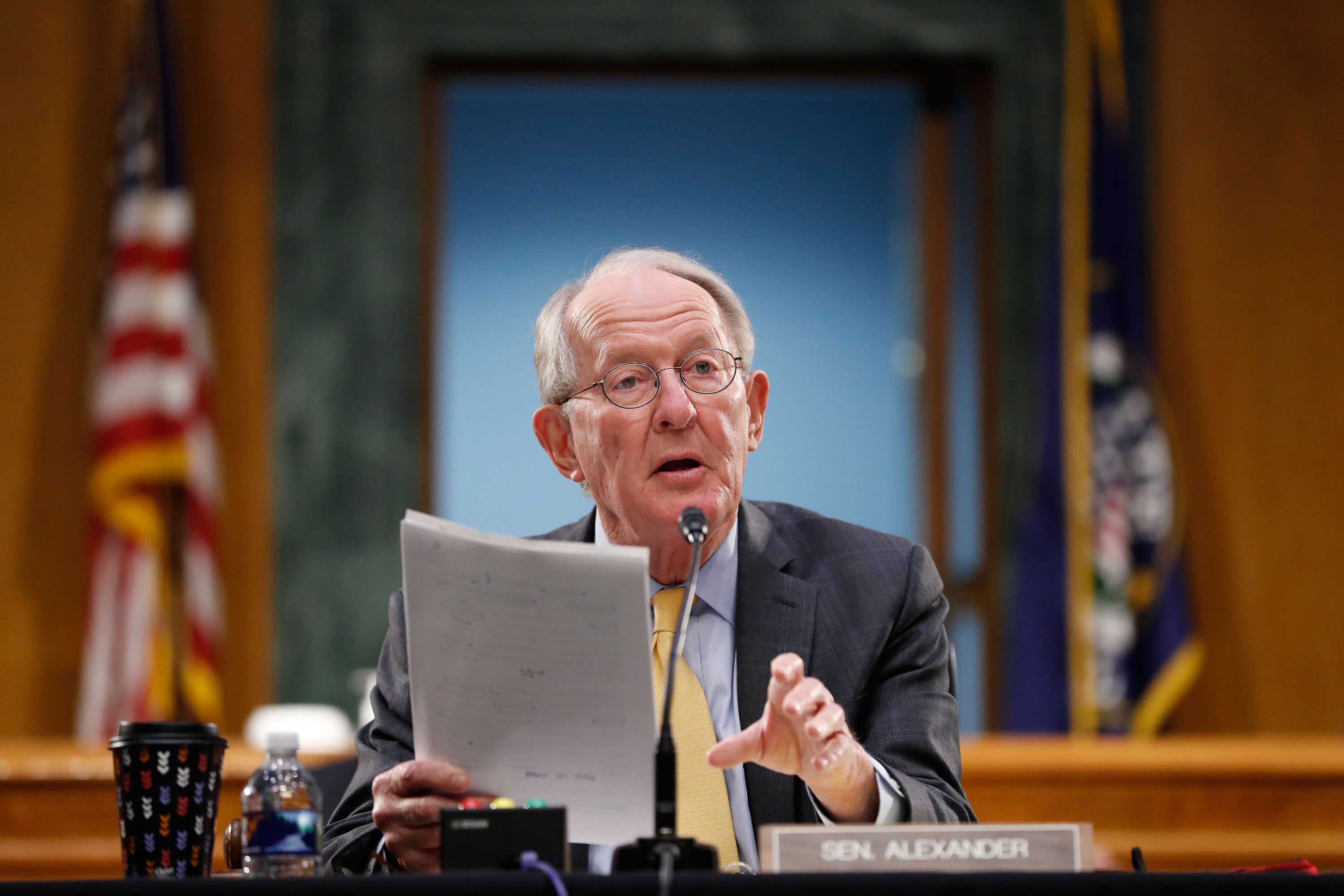 Sen. Lamar Alexander gives his opening statement during a Senate Health Education Labor and Pensions Committee hearing on new coronavirus tests on Capitol Hill on May 7, in Washington.