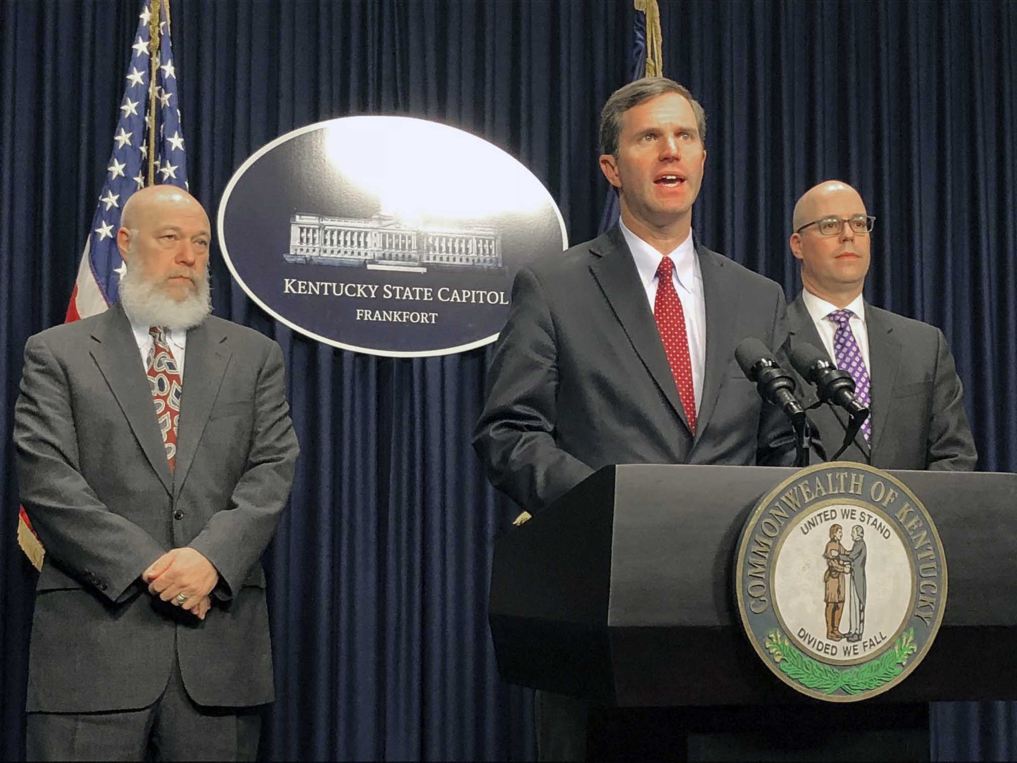 Kentucky Governor Andy Beshear speaks about coronavirus at a press conference in Frankfort, Kentucky, on March 6.