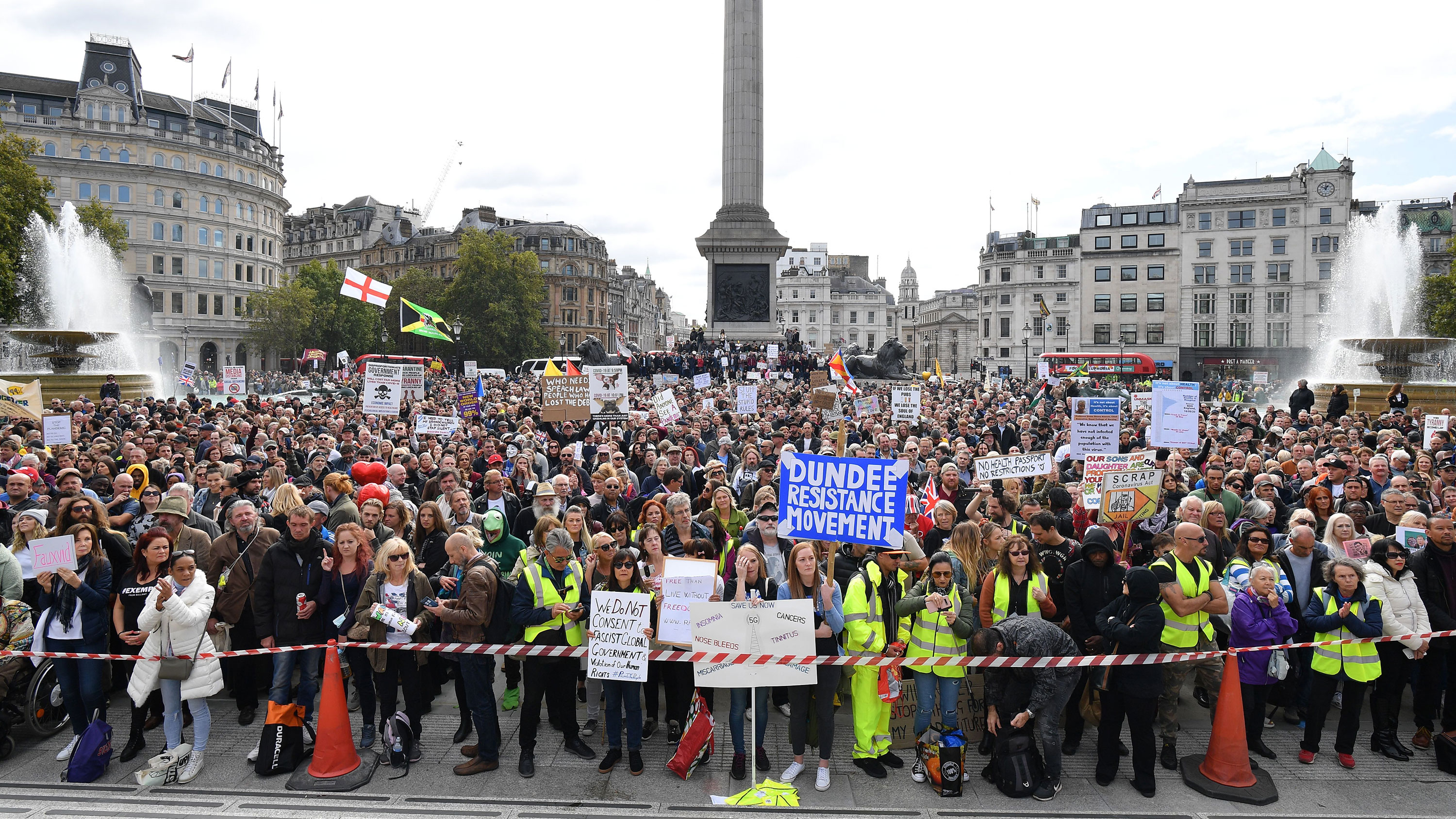 Protesters gather in Trafalgar Square for a rally against vaccination and government restrictions designed to fight the spread of the novel coronavirus, in London on September 26.