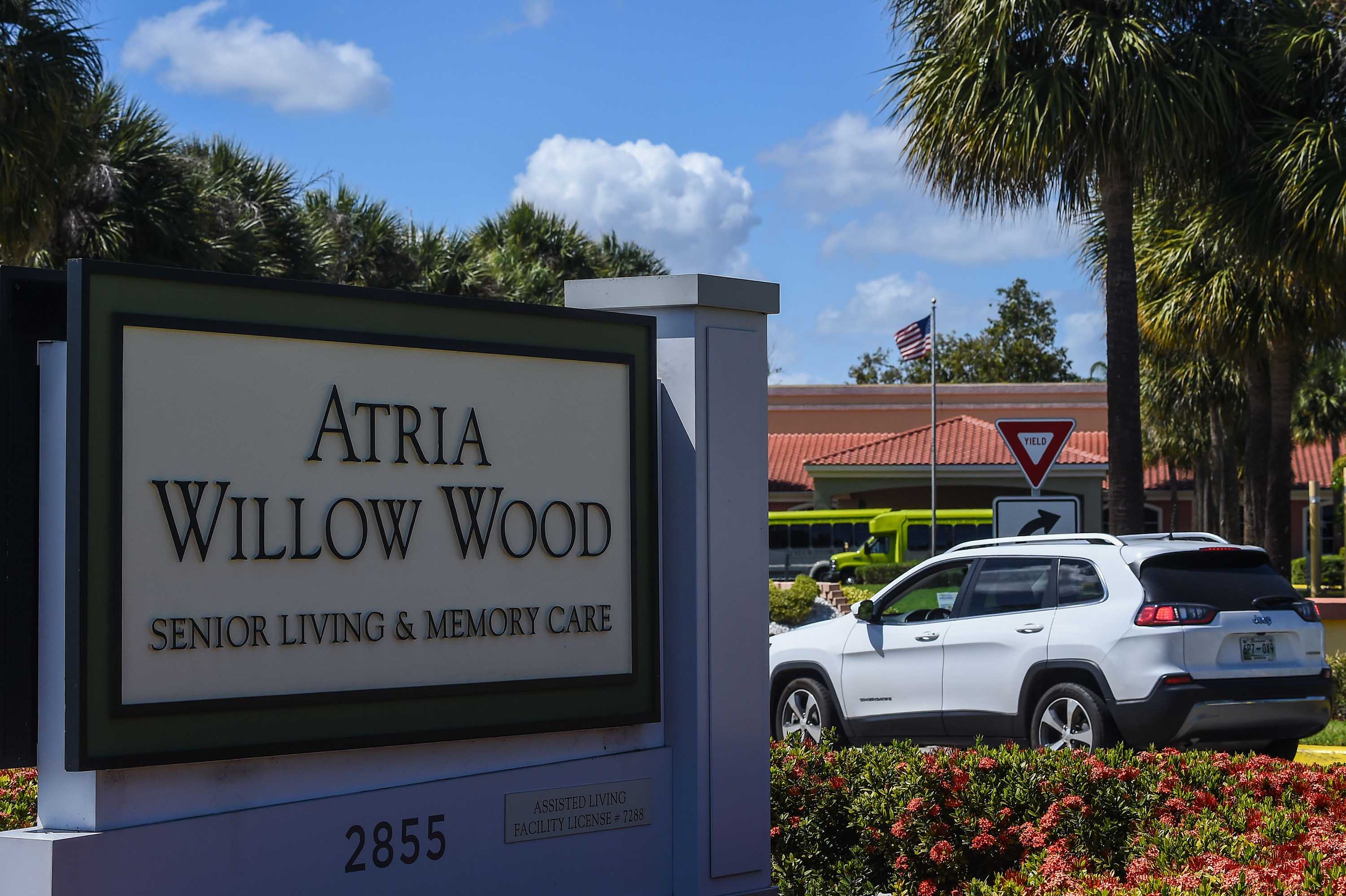 The Atria Senior Living center is pictured on March 21 near Fort Lauderdale, Florida, where there have been reports of coronavirus-related deaths among the center's residents.