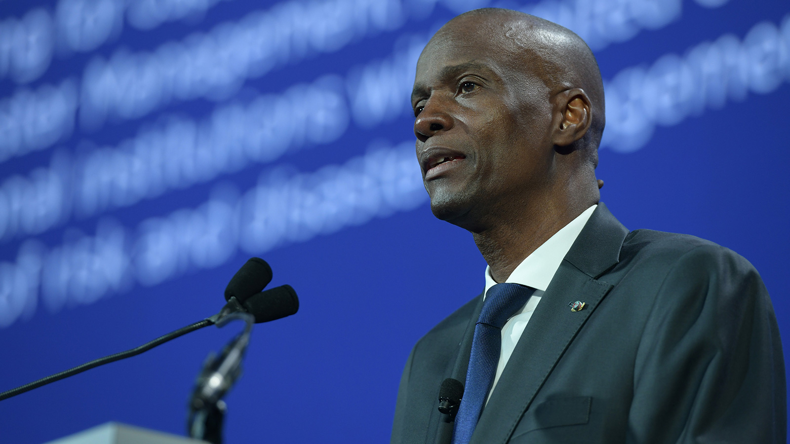Haiti President Jovenel Moise speaks onstage during the 2018 Concordia Annual Summit in New York on September 25, 2018.