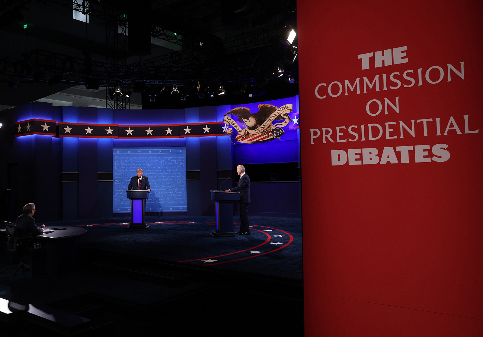 President Donald Trump and Democratic presidential nominee Joe Biden participate in the first presidential debate at the Health Education Campus of Case Western Reserve University on September 29, in Cleveland, Ohio.