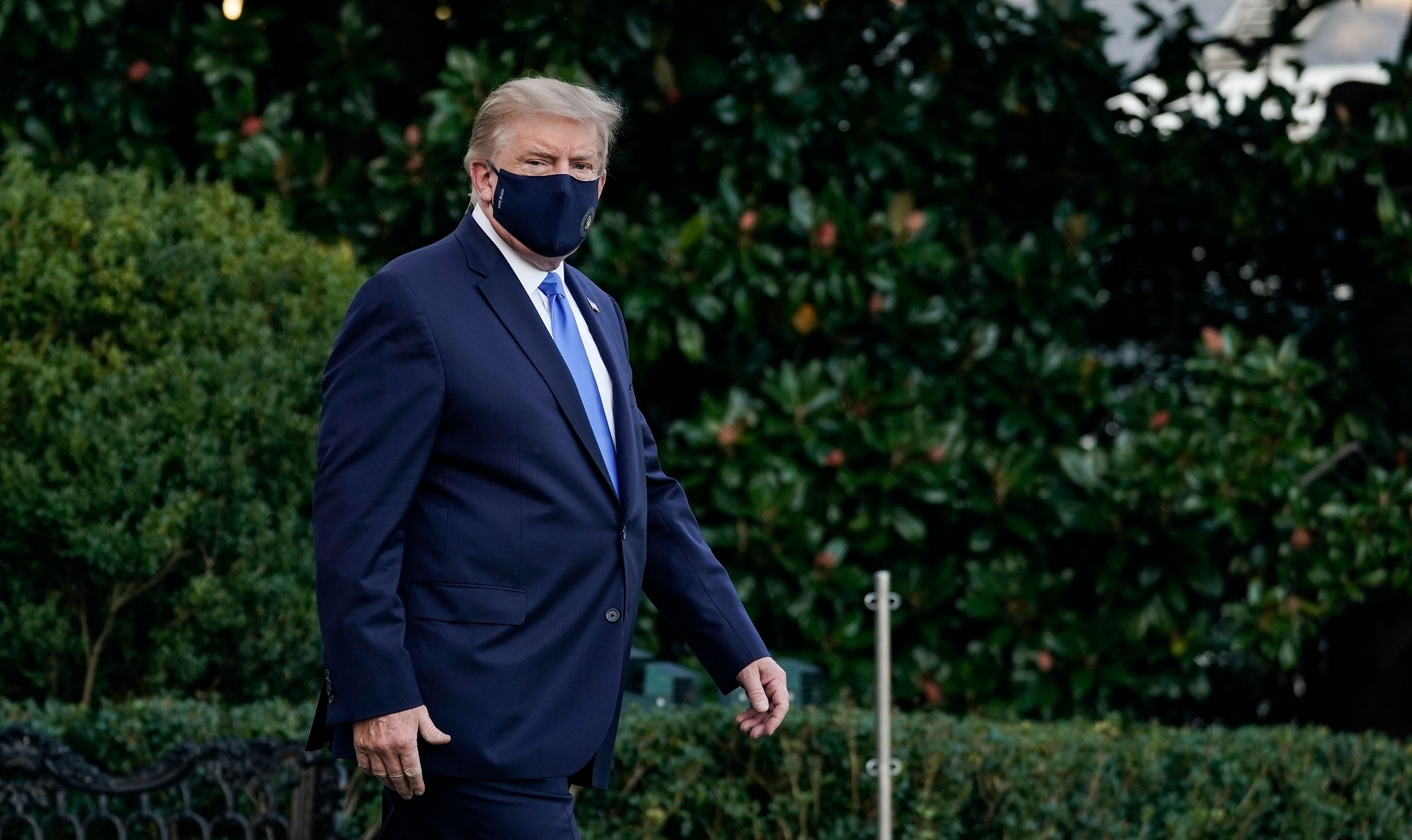 President Donald Trump leaves the White House for Walter Reed National Military Medical Center on October 2.