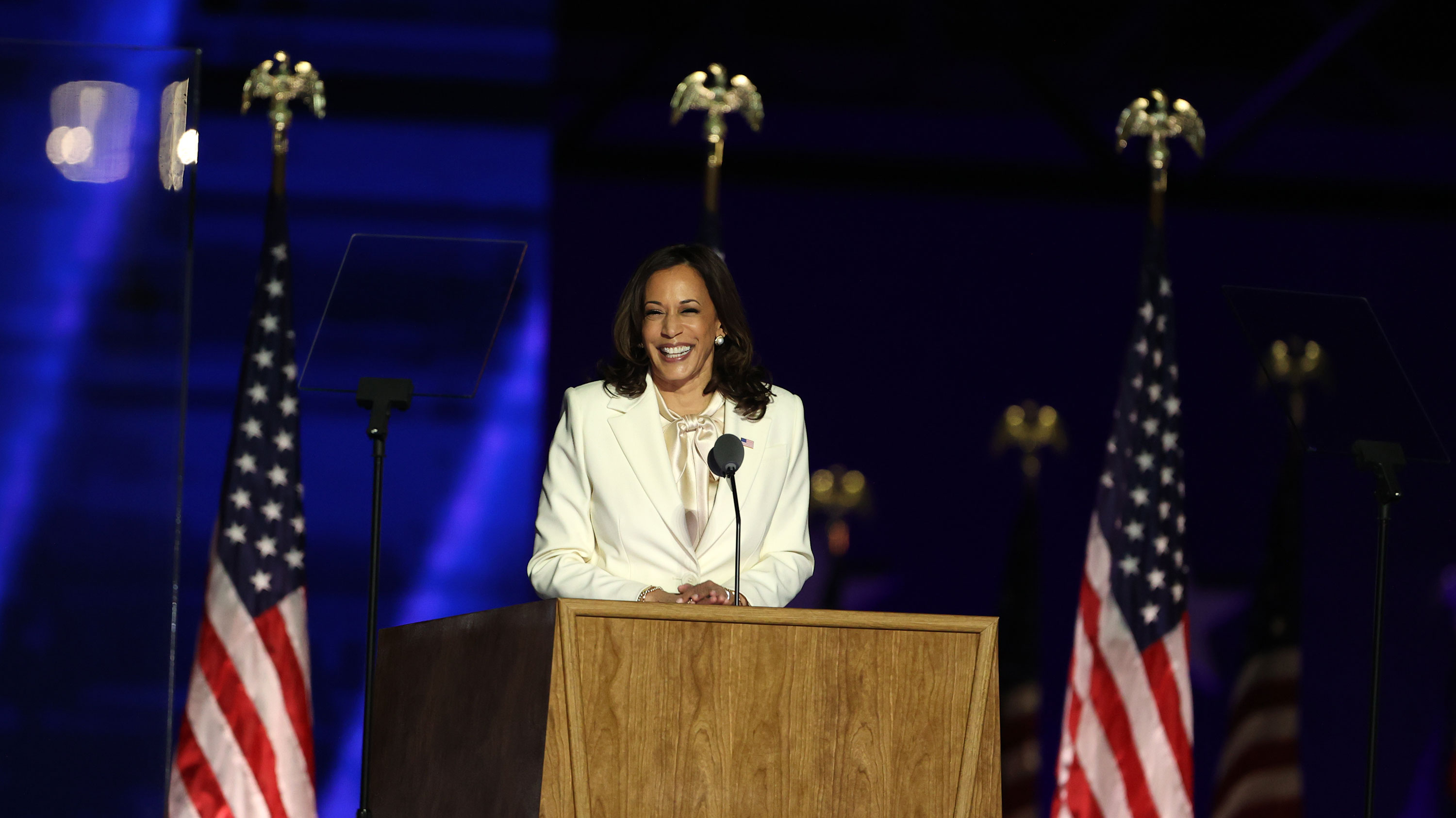 Vice President-elect Kamala Harris addresses the nation from the Chase Center on November 7 in Wilmington, Delaware.