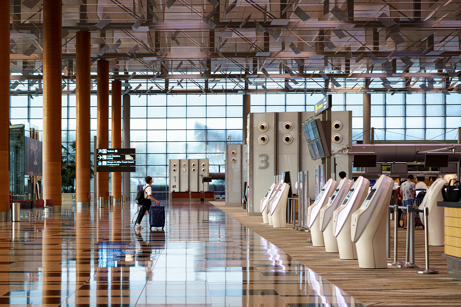 A traveler arrives at the departure hall of Changi Airport Terminal 3 in Singapore, on November 11.