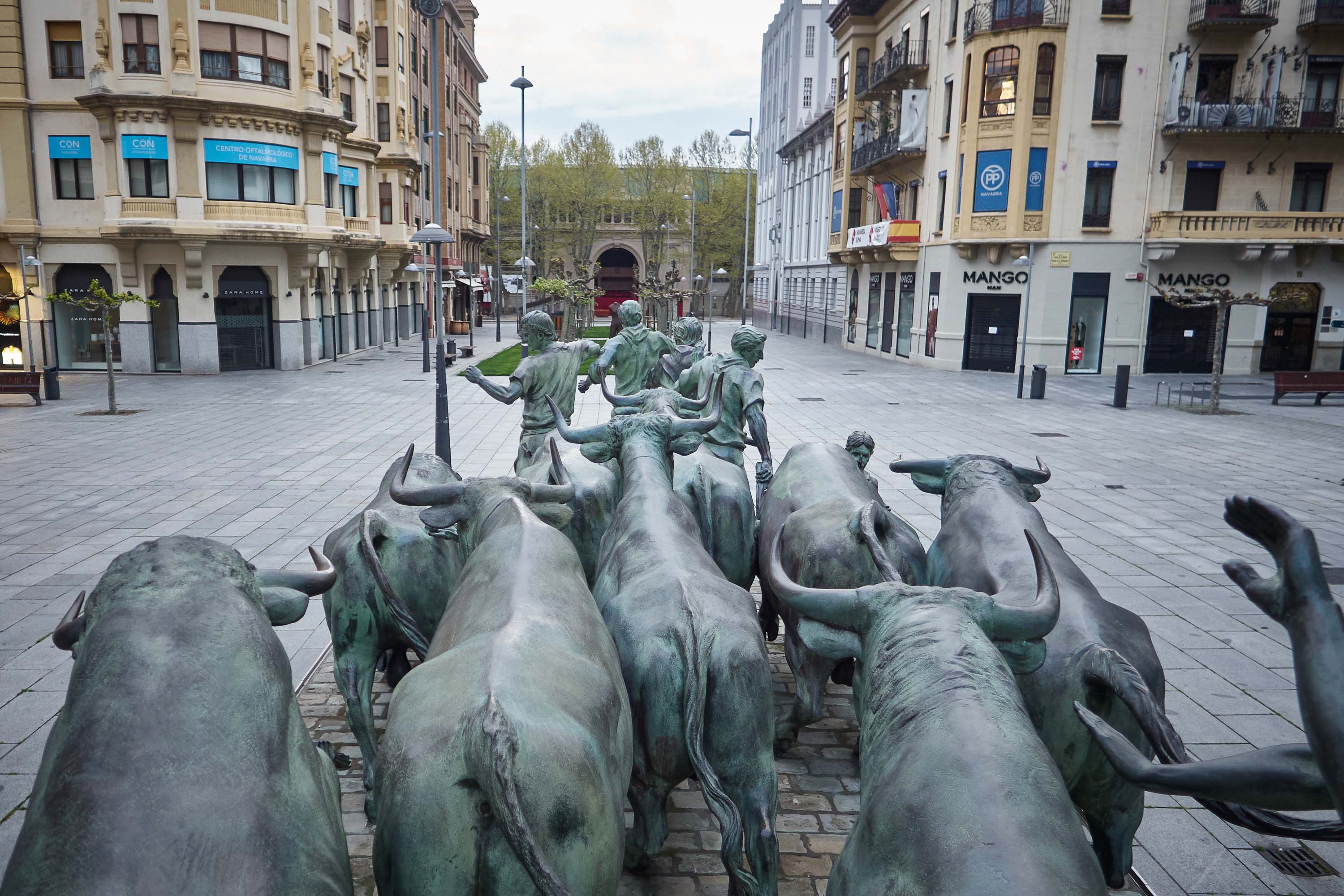A monument to the San Fermin festival is pictured in Pamplona, Spain, on April 16.