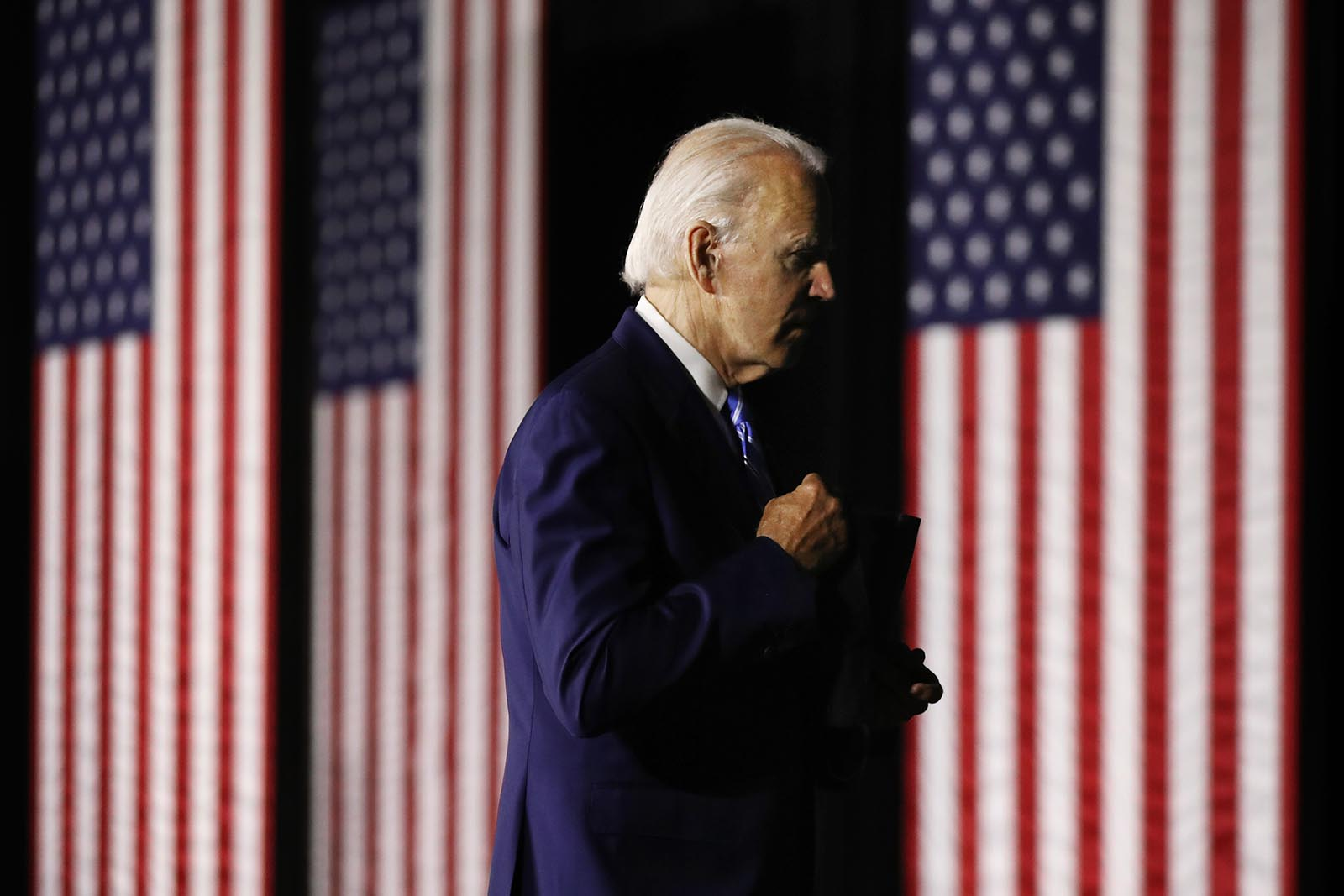 Democratic presidential candidate former Vice President Joe Biden leaves after speaking at the Chase Center July 14, in Wilmington, Delaware.