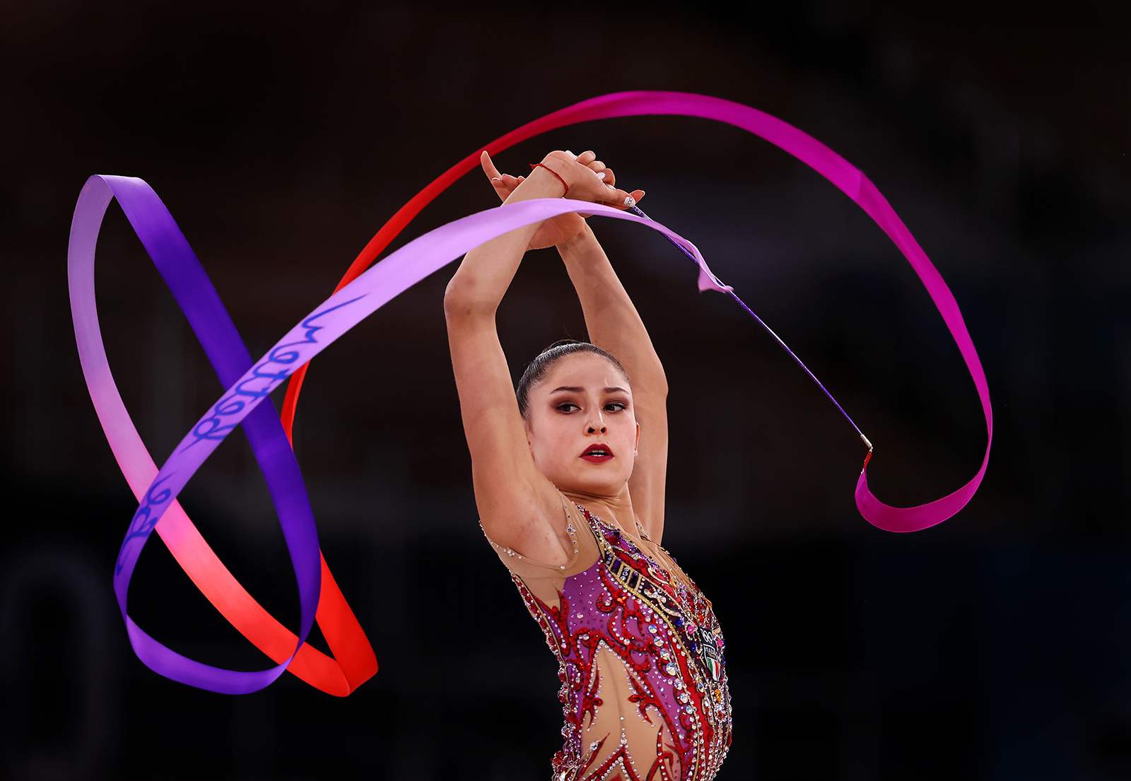Milena Baldassarri of Team Italy competes during the Individual All-Around Fina on day fifteen of the Tokyo 2020 Olympic Games at Ariake Gymnastics Center on August 7, in Tokyo.