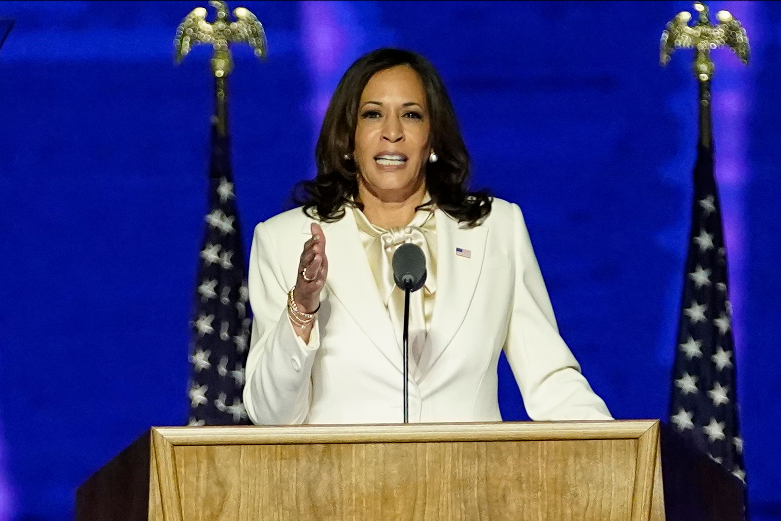 Vice President-elect Kamala Harris speaks on November 7 in Wilmington, Delaware.