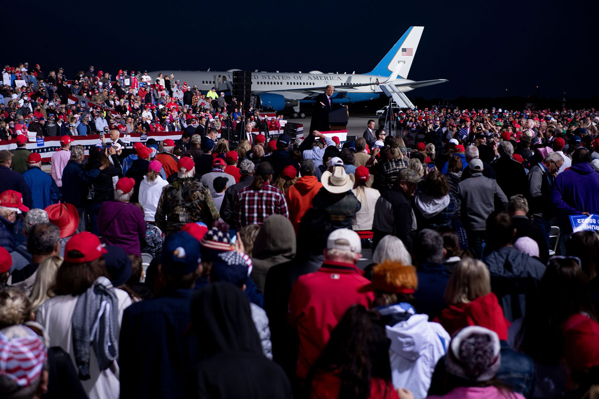 "President Donald Trump speaks during a ""Great American Comeback"" rally at Bemidji Regional Airport in Bemidji, Minnesota, on September 18."
