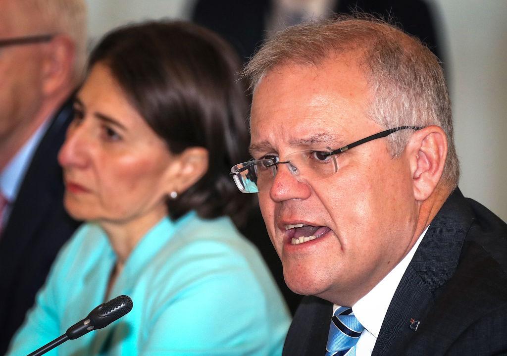 Australian Prime Minister Scott Morrison at Parramatta Stadium in Sydney today.