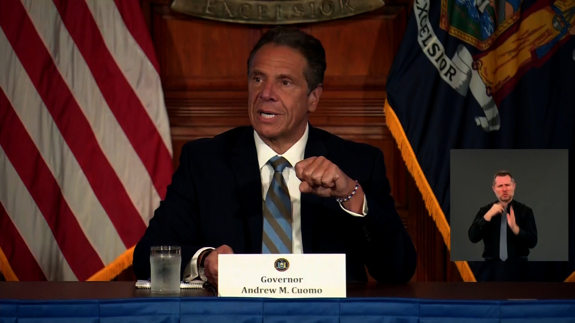 New York Gov. Andrew Cuomo speaks during a coronavirus briefing in Albany, New York, on June 3.