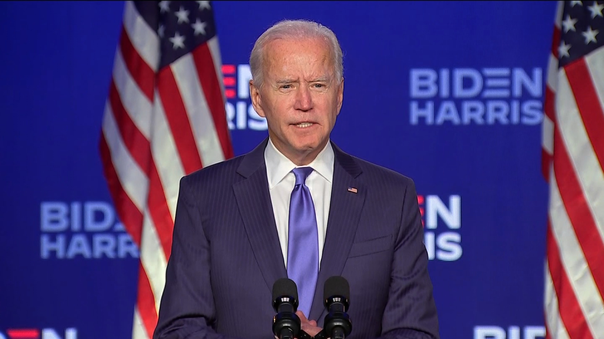 Democratic presidential candidate Joe Biden speaks in Wilmington, Delaware.