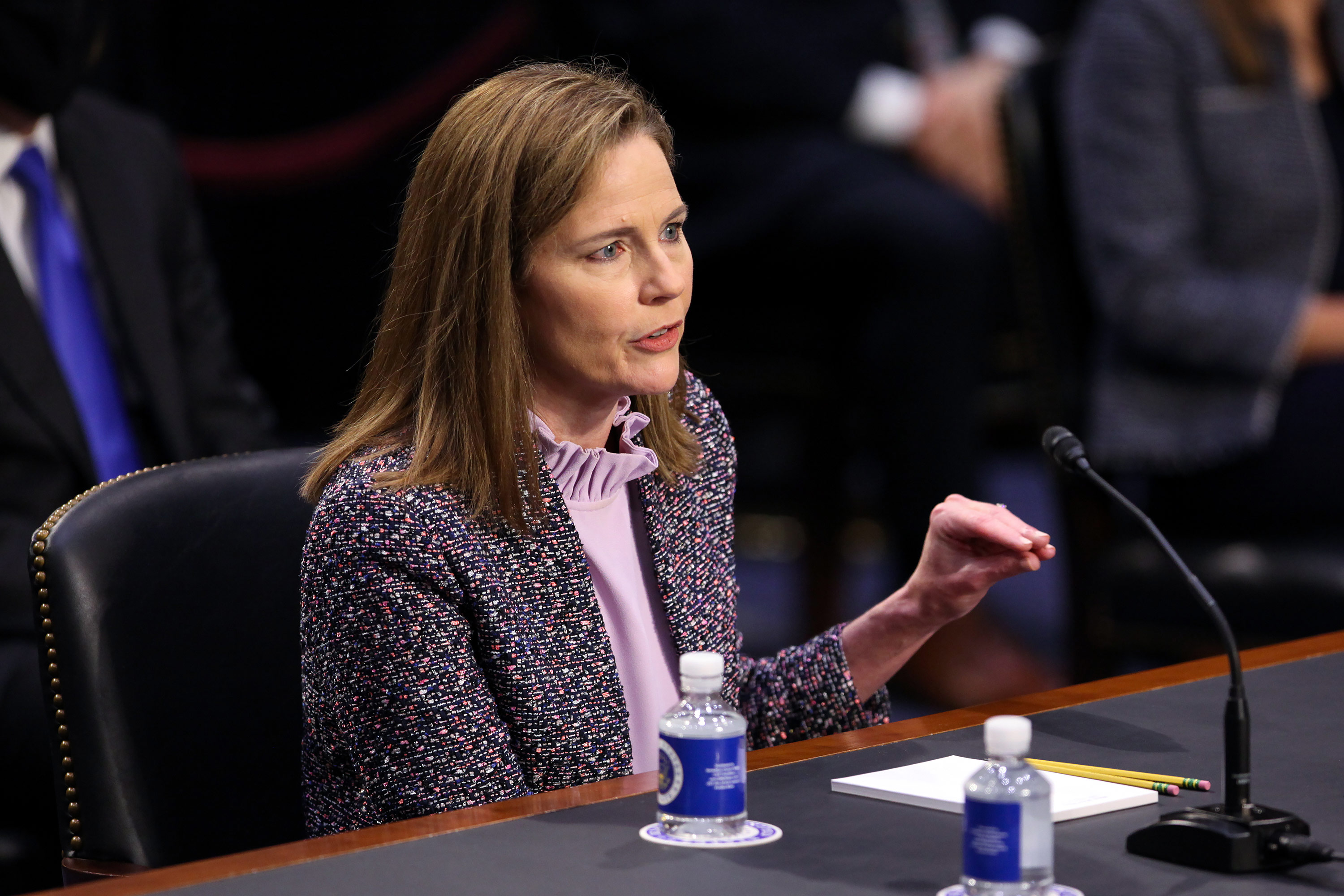 Supreme Court nominee Judge Amy Coney Barrett speaks on the third day of her confirmation hearing before the Senate Judiciary Committee on Capitol Hill on October 14 in Washington, DC.