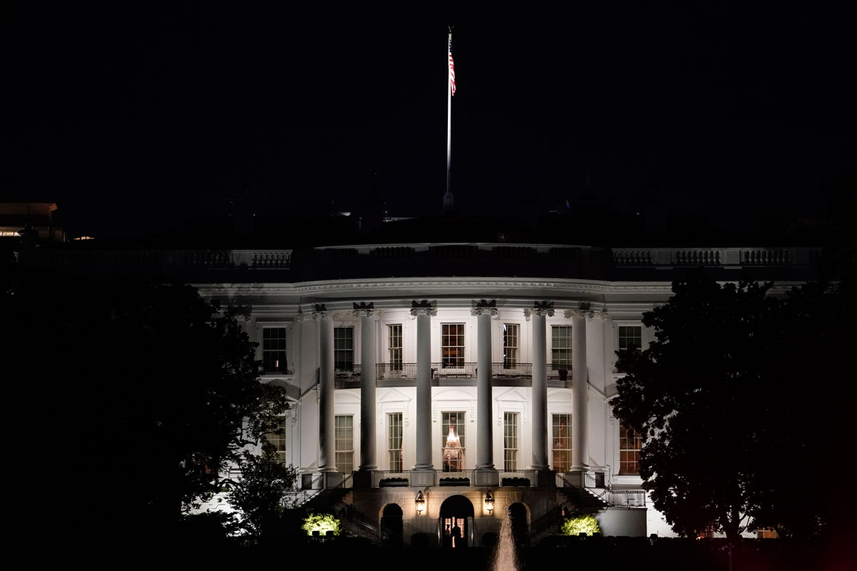 A view of the White House on the night of President Donald Trump's return on October 5 after he was treated for Covid-19 at Walter Reed National Military Medical Center.